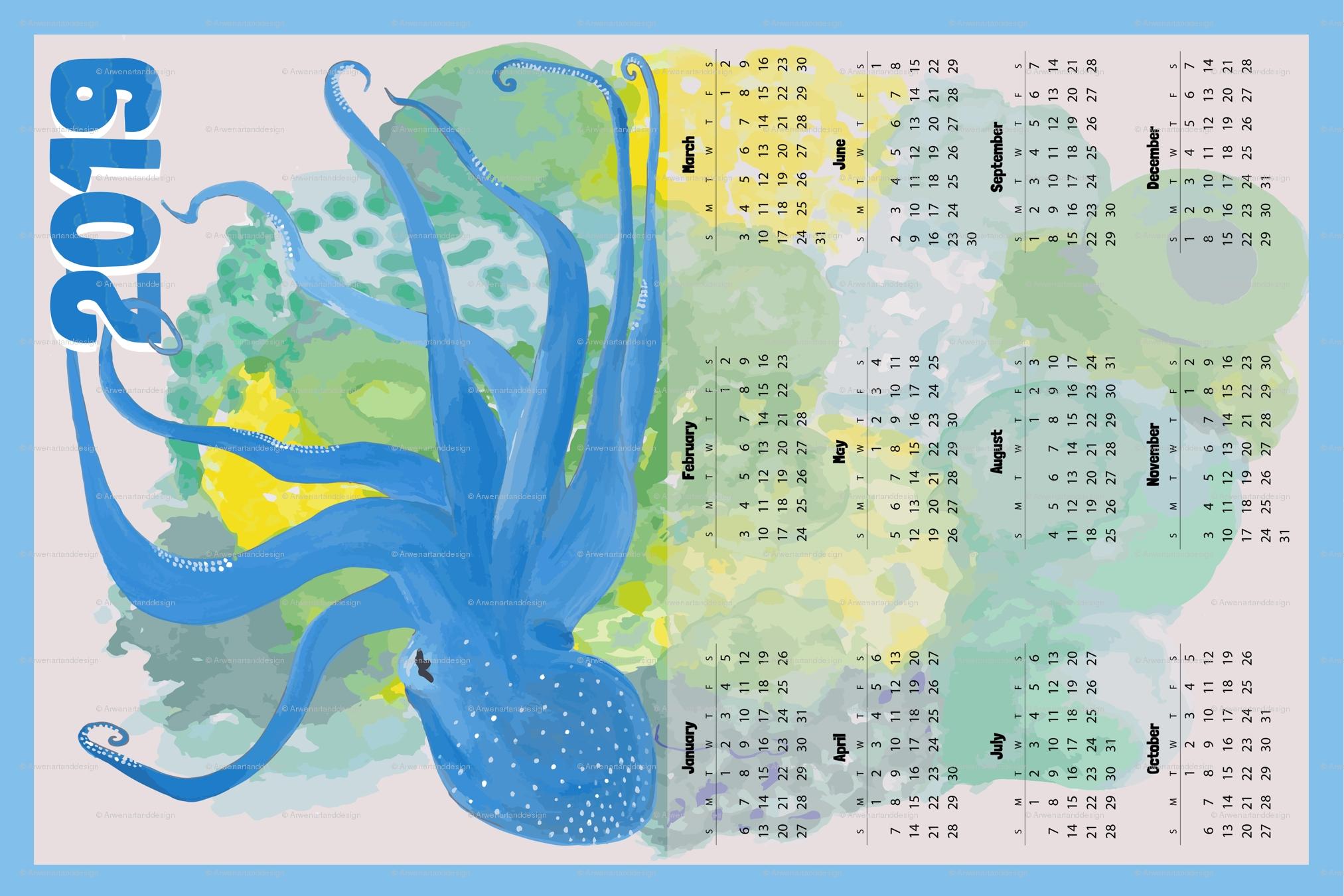 Blue Octopus' Garden Calendar 2019 - Vertical Wallpaper Calendar 2019 Octopus