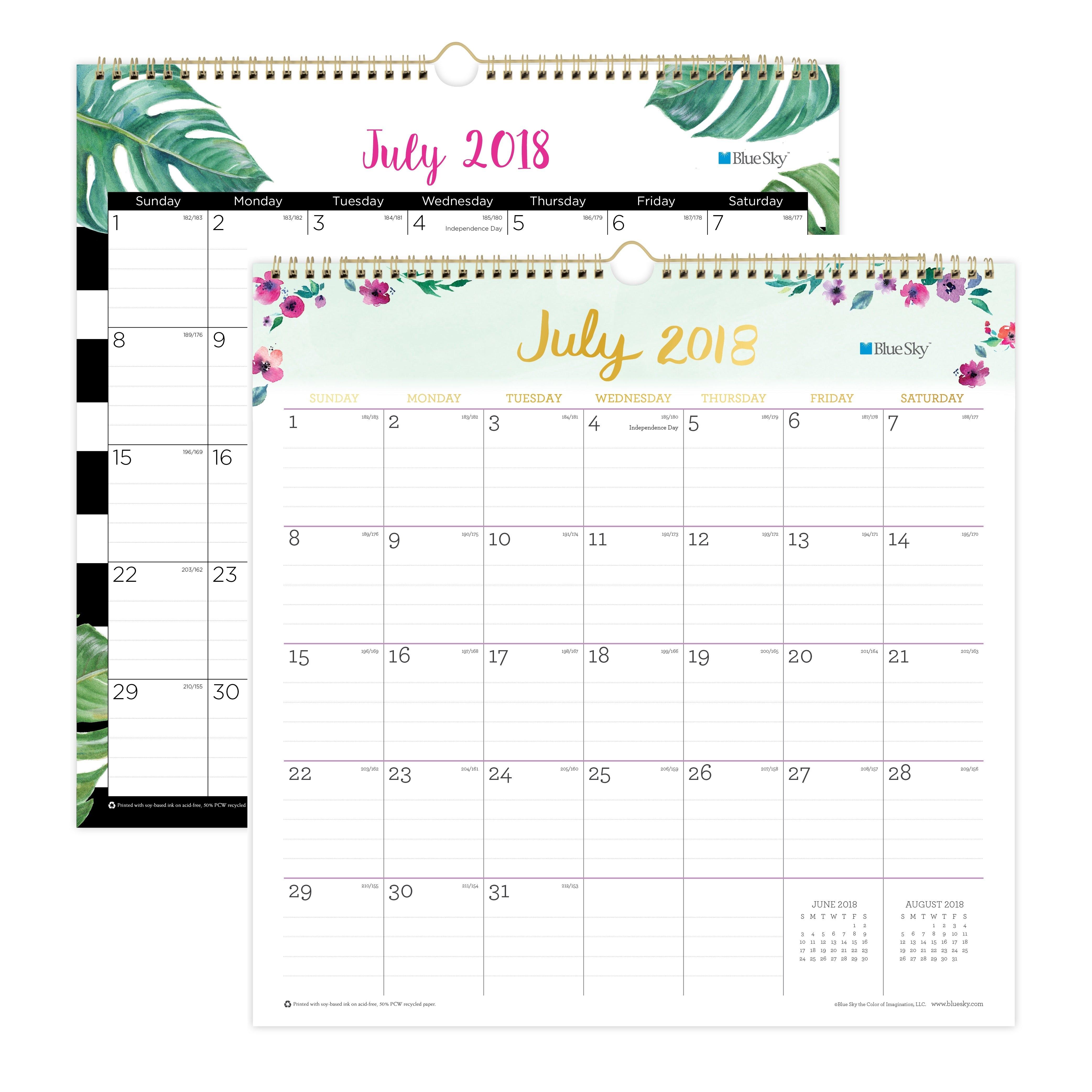 """Blue Sky 12"""" X 12"""" Wall Calendar, July 2018-June 2019 – Walmart Calendar 2019 At Walmart"""