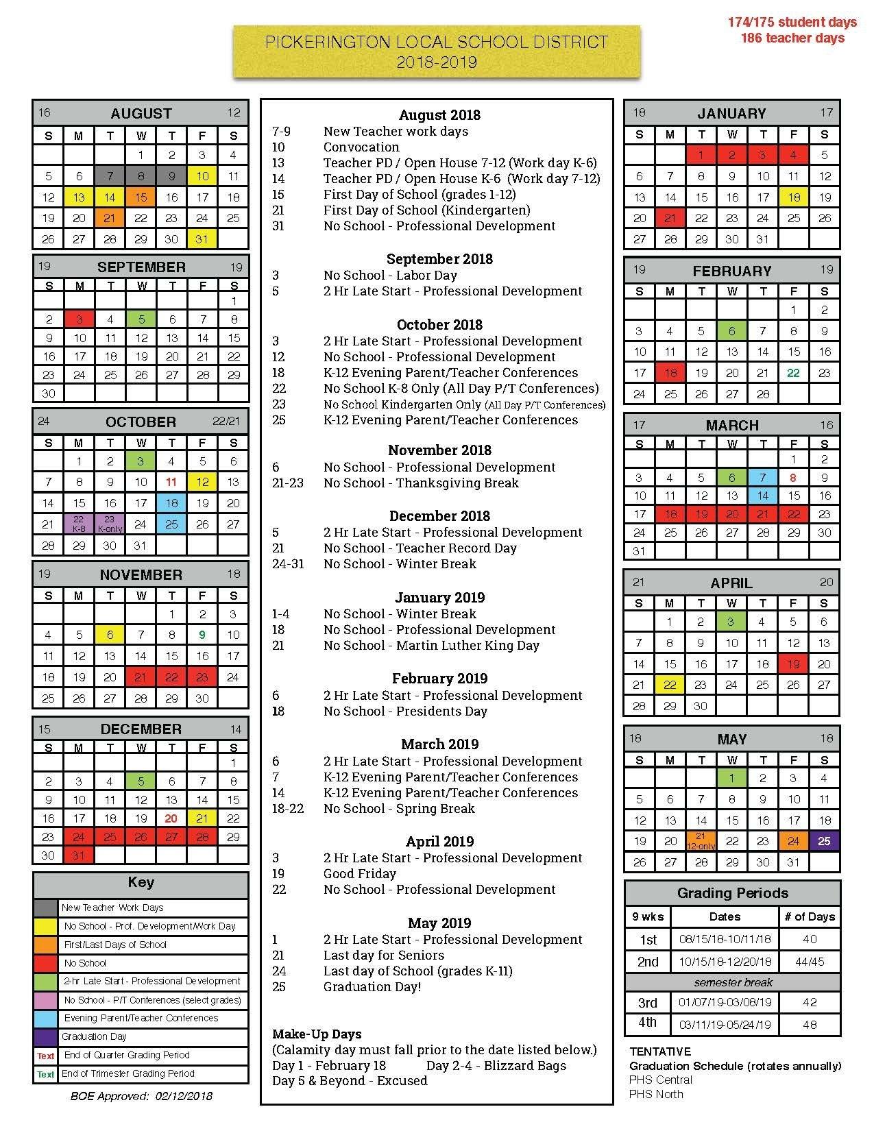 Board Of Education Approves 2018-19 Calendar - Pickerington Local School District 8 2019 Calendar