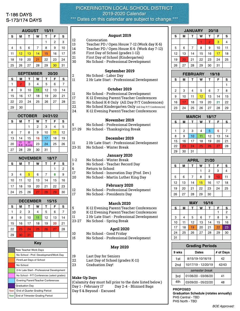 Board Of Education Approves 2019-20 Calendar - Pickerington Local School Calendar 2019-20