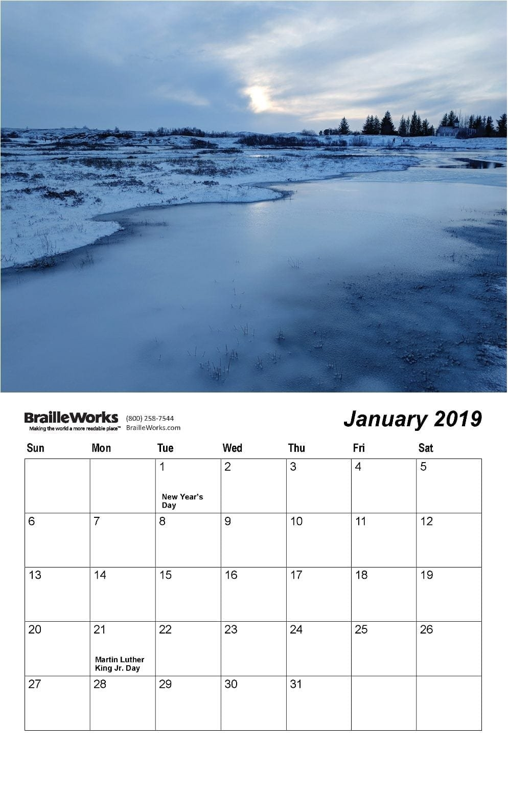 Braille Calendars - Attractive And Accessible - Braille Works Indiana U Calendar 2019