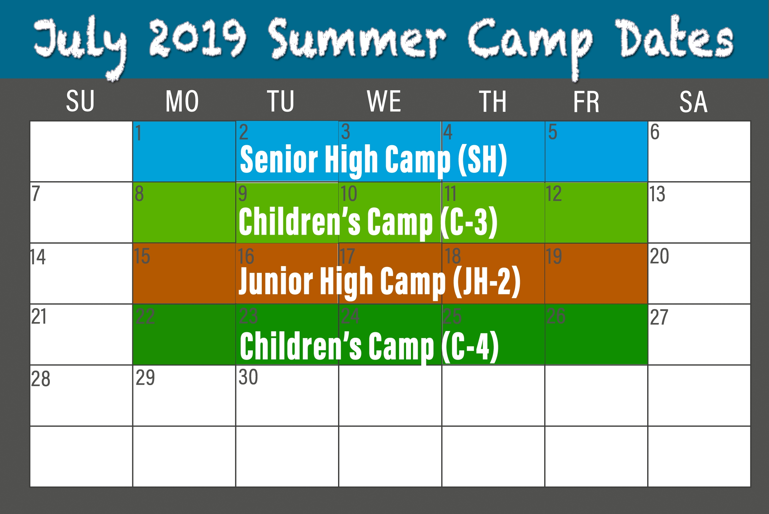 Bridgeport Camp And Conference Center » Summer Camps Calendar 2019 Summer