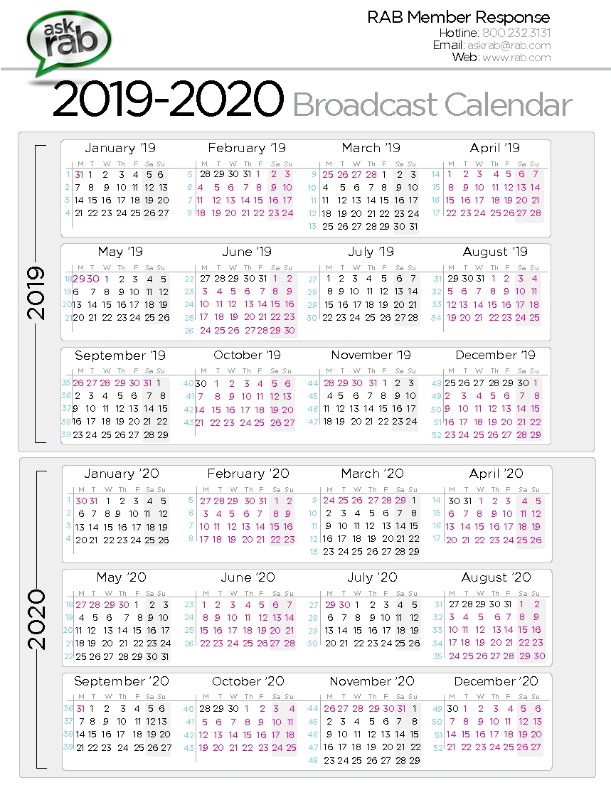 Broadcast Calendars | Rab Calendar Week 50 2019