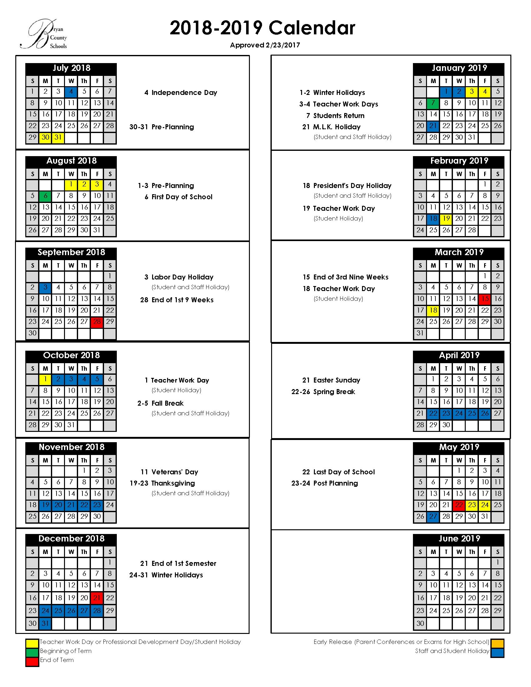 Bryan County Schools Calendar 2019-19