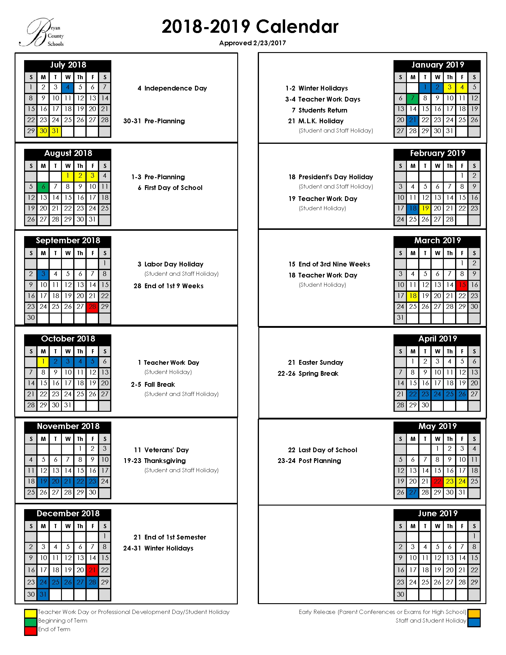 Bryan County Schools School Calendar 2019-20