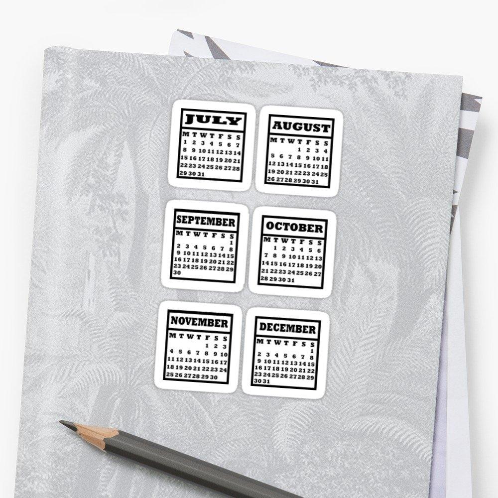 """Bullet Journal Calendar July-December 2019"""" Stickersraicyrose Calendar 2019 Stickers"""
