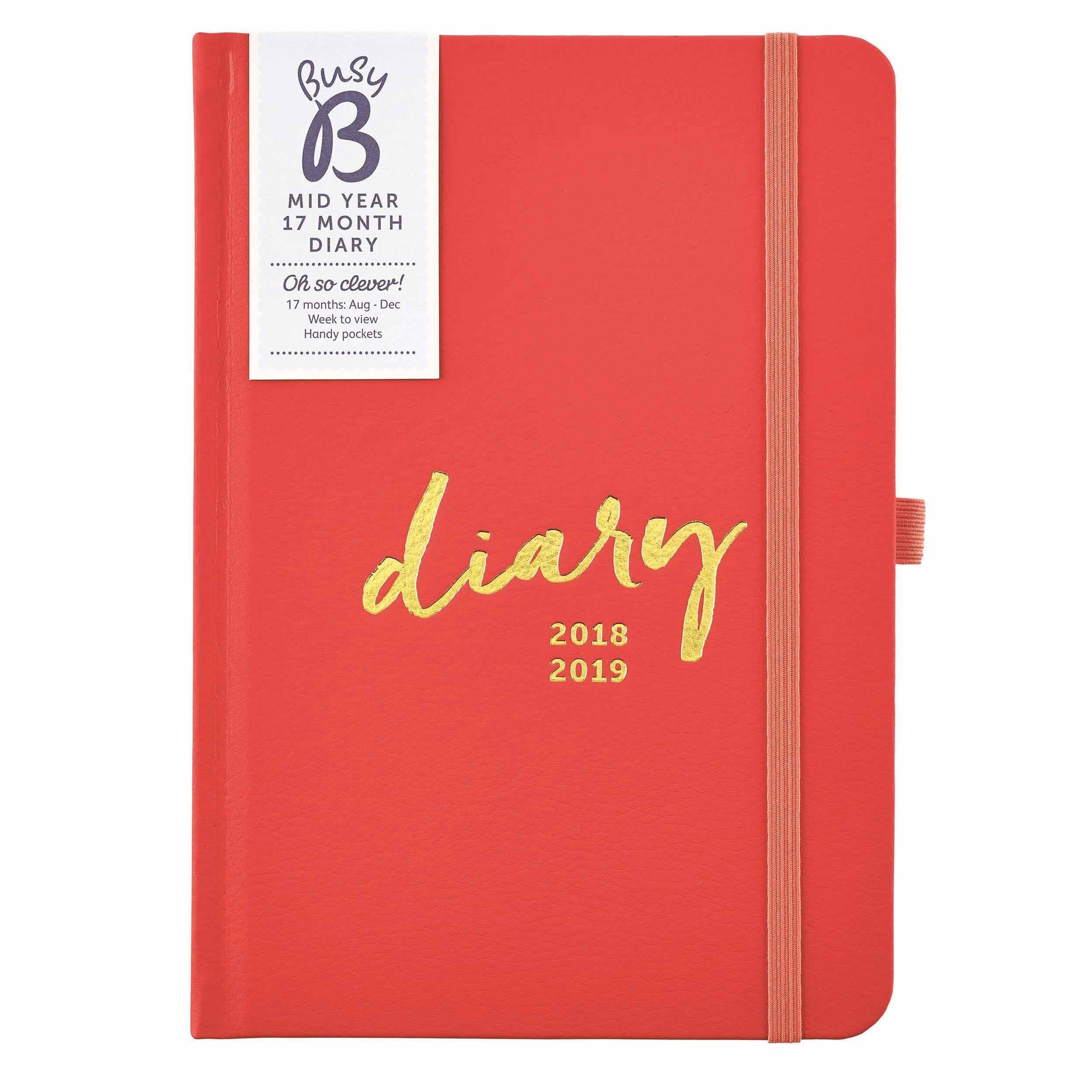 Busy B Mid Year A5 Diary 2018 - 2019 | 2017 Calendars In 2018 Busy B Calendar 2019