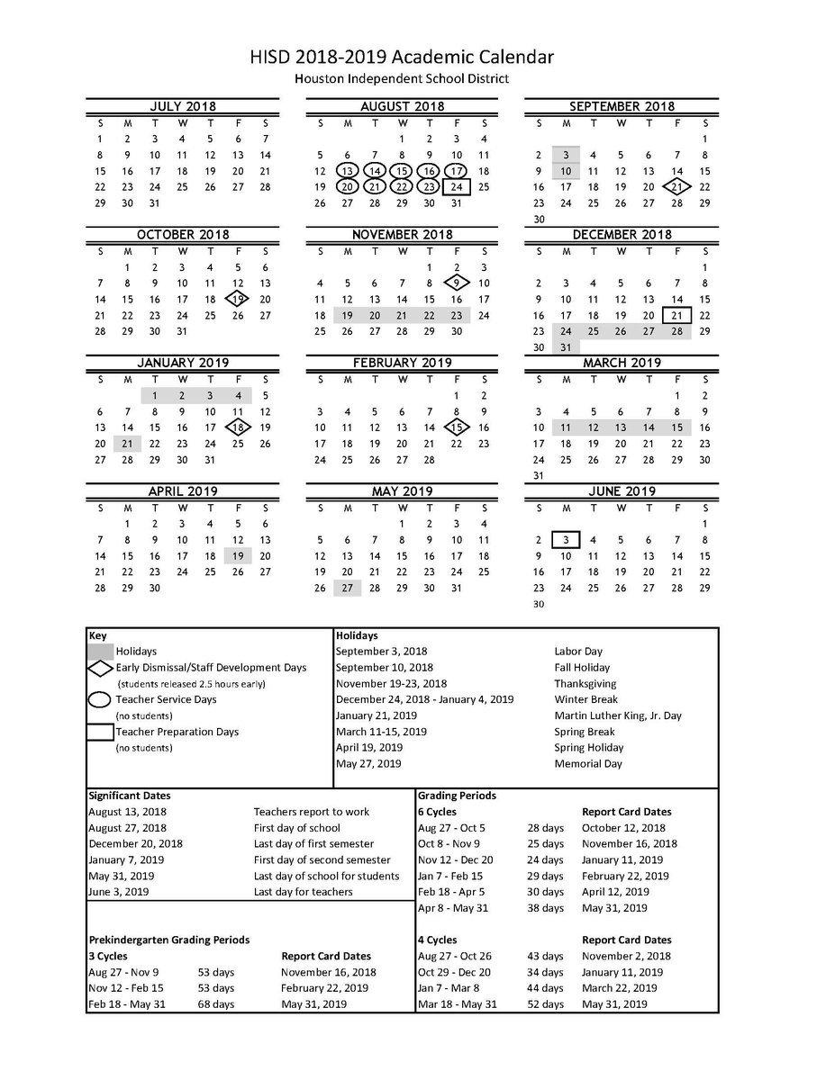 """Cagees Chrysalisms On Twitter: """"the Hisd 2018-19 Academic Calendar Calendar 2019 Hisd"""