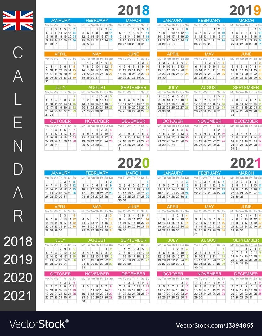 Calendar 2018 2019 2020 2021 Royalty Free Vector Image 3 Year Calendar 2019 To 2021 Printable