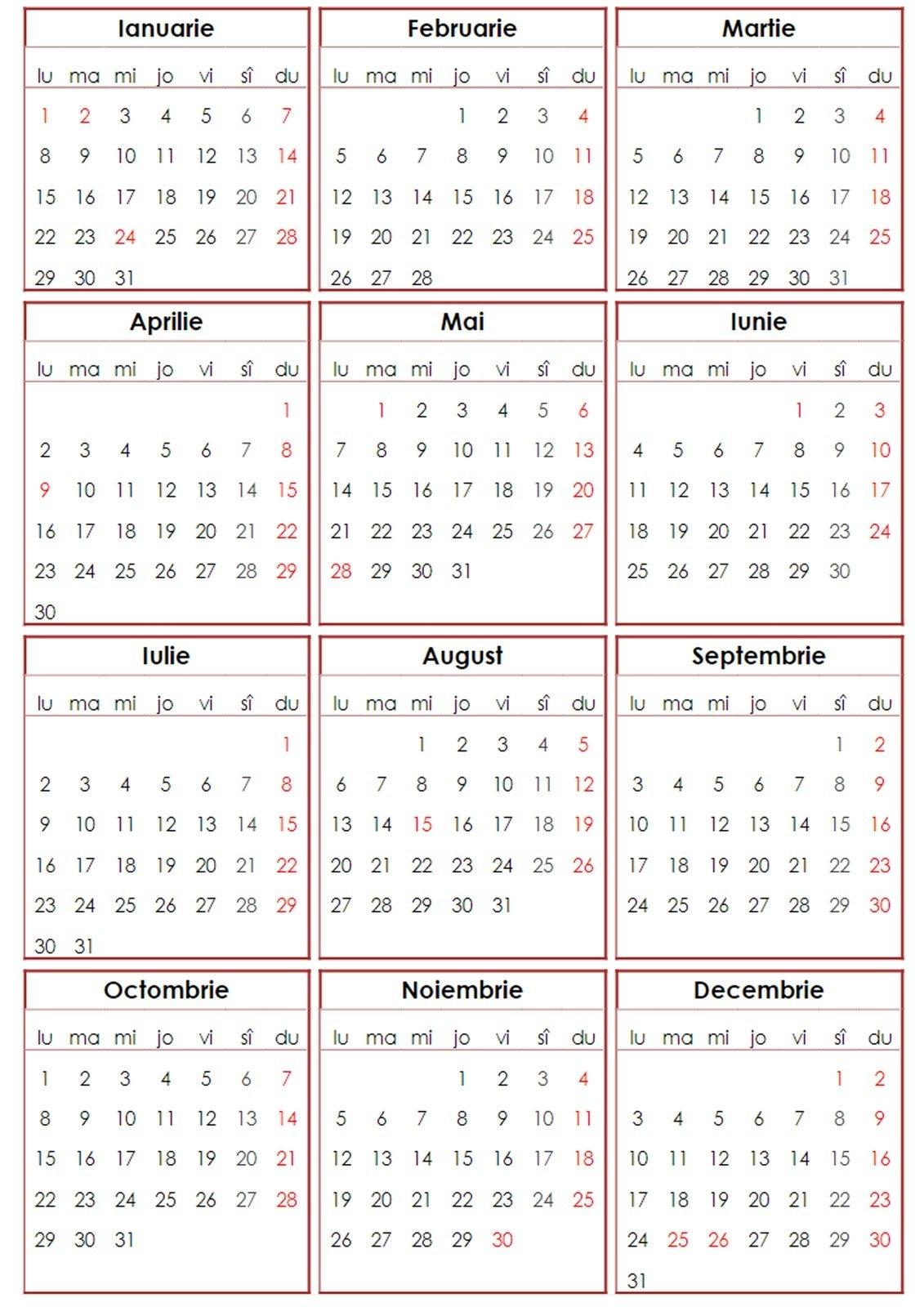Calendar 2018 Romanesc - De Printat - Pdf, Png | Softulescu Calendar 2019 Romanesc