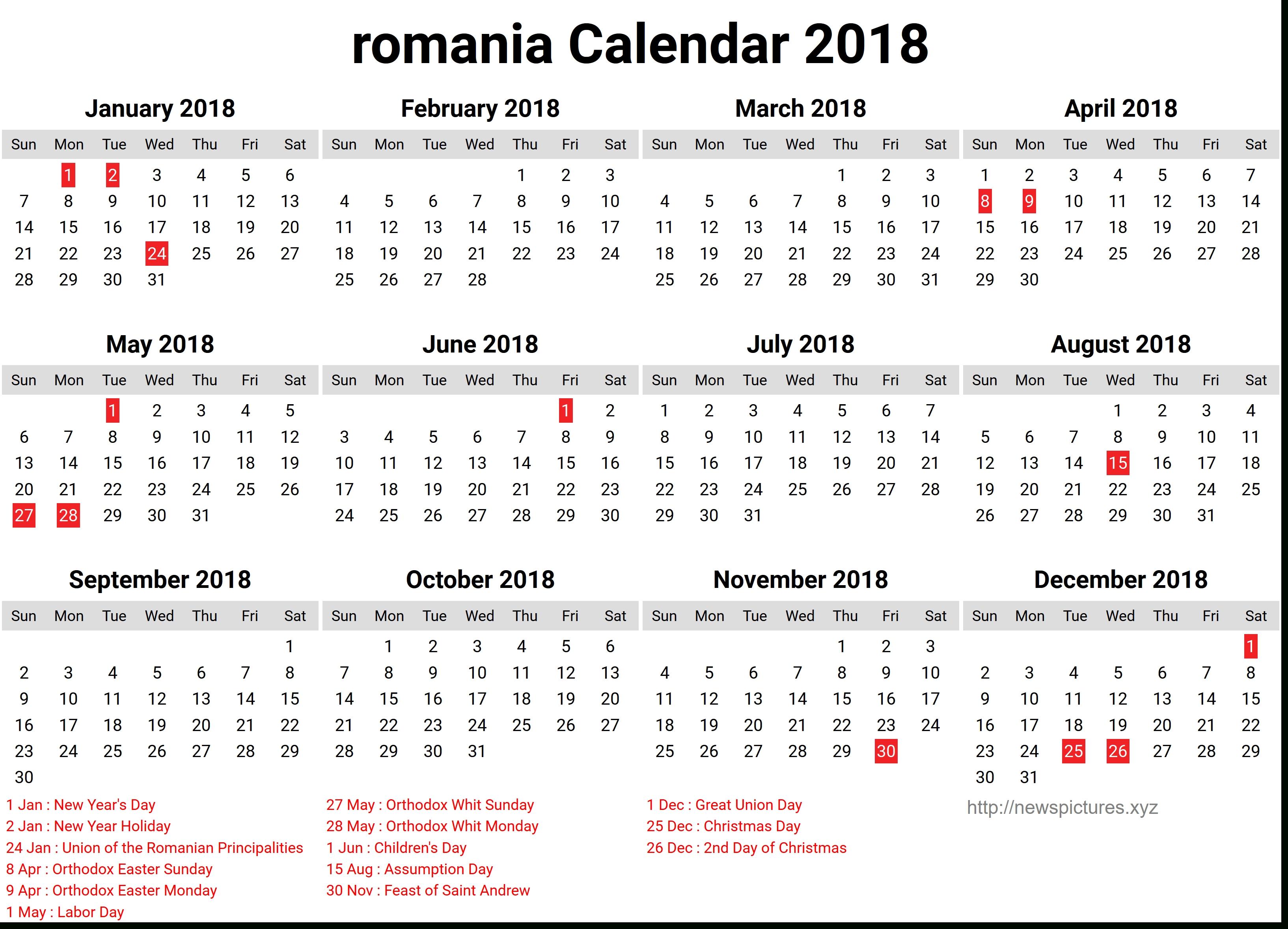 Calendar 2018 Romanesc Printable | Calendar Template Calendar 2019 Romanesc