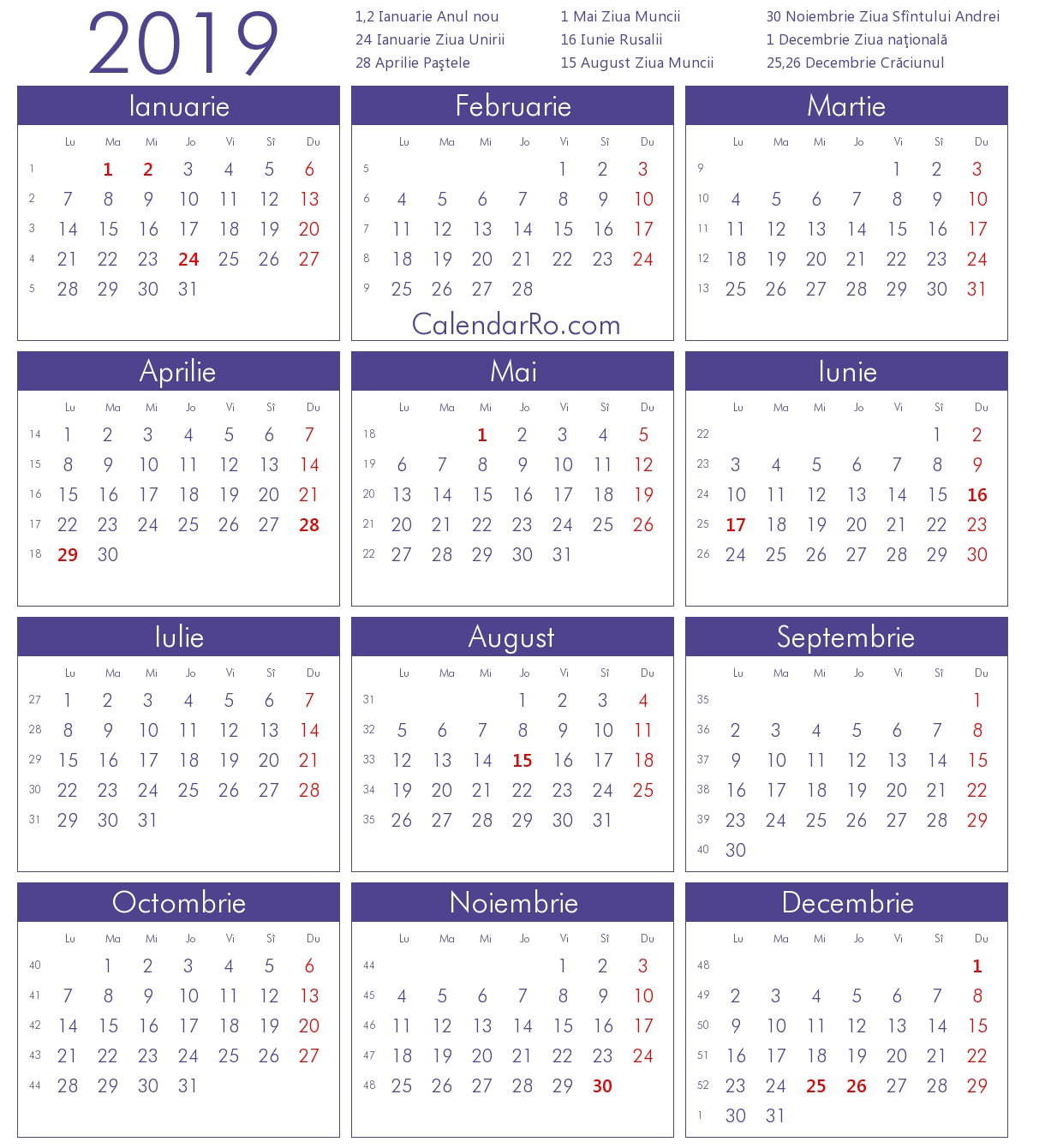 Calendar 2019 Calendar 2019 Limba Romana