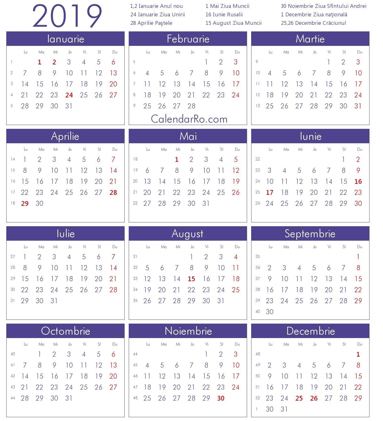 Calendar 2019 Calendar 2019 Romanesc