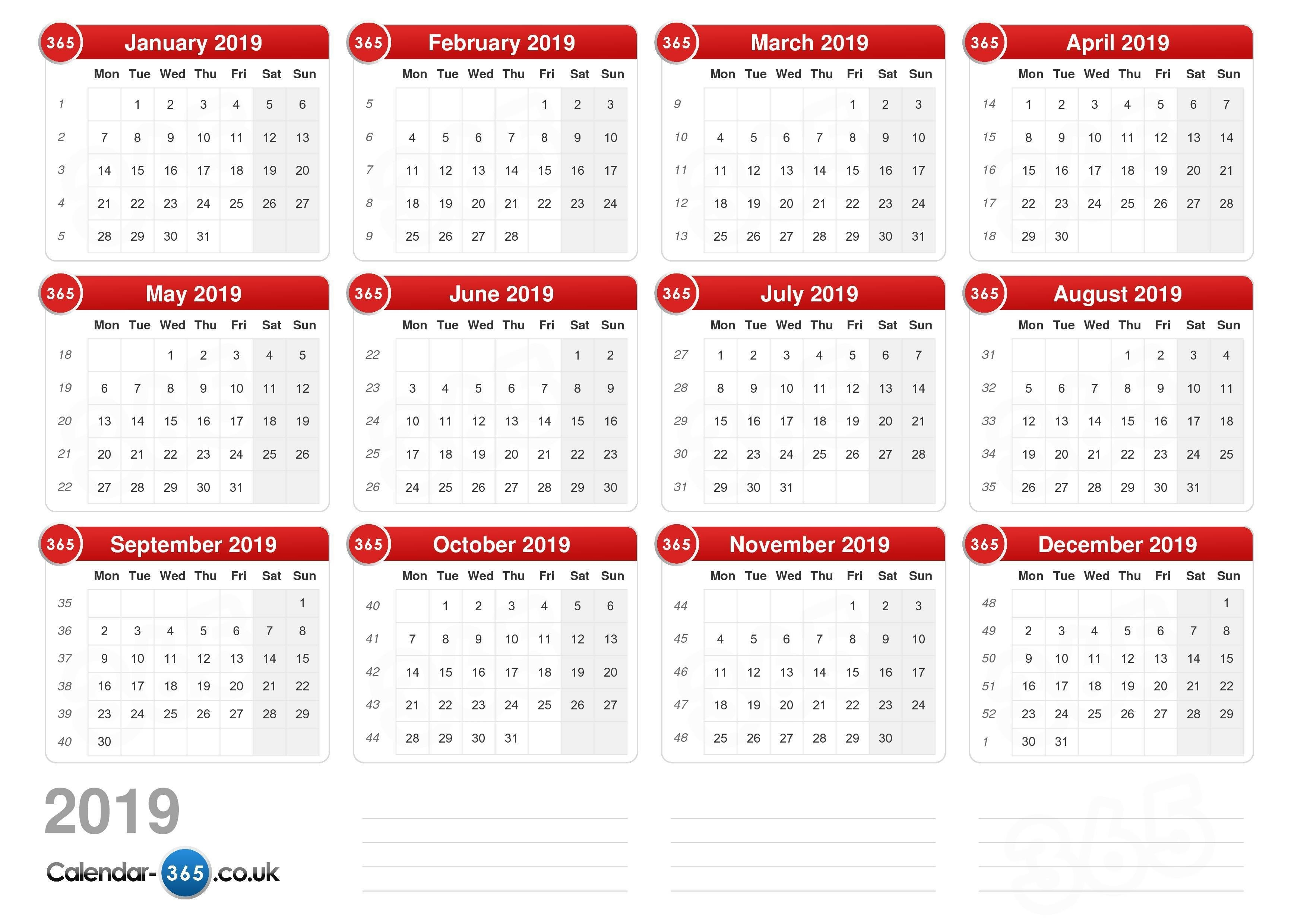 Calendar 2019 Calendar 4 2019