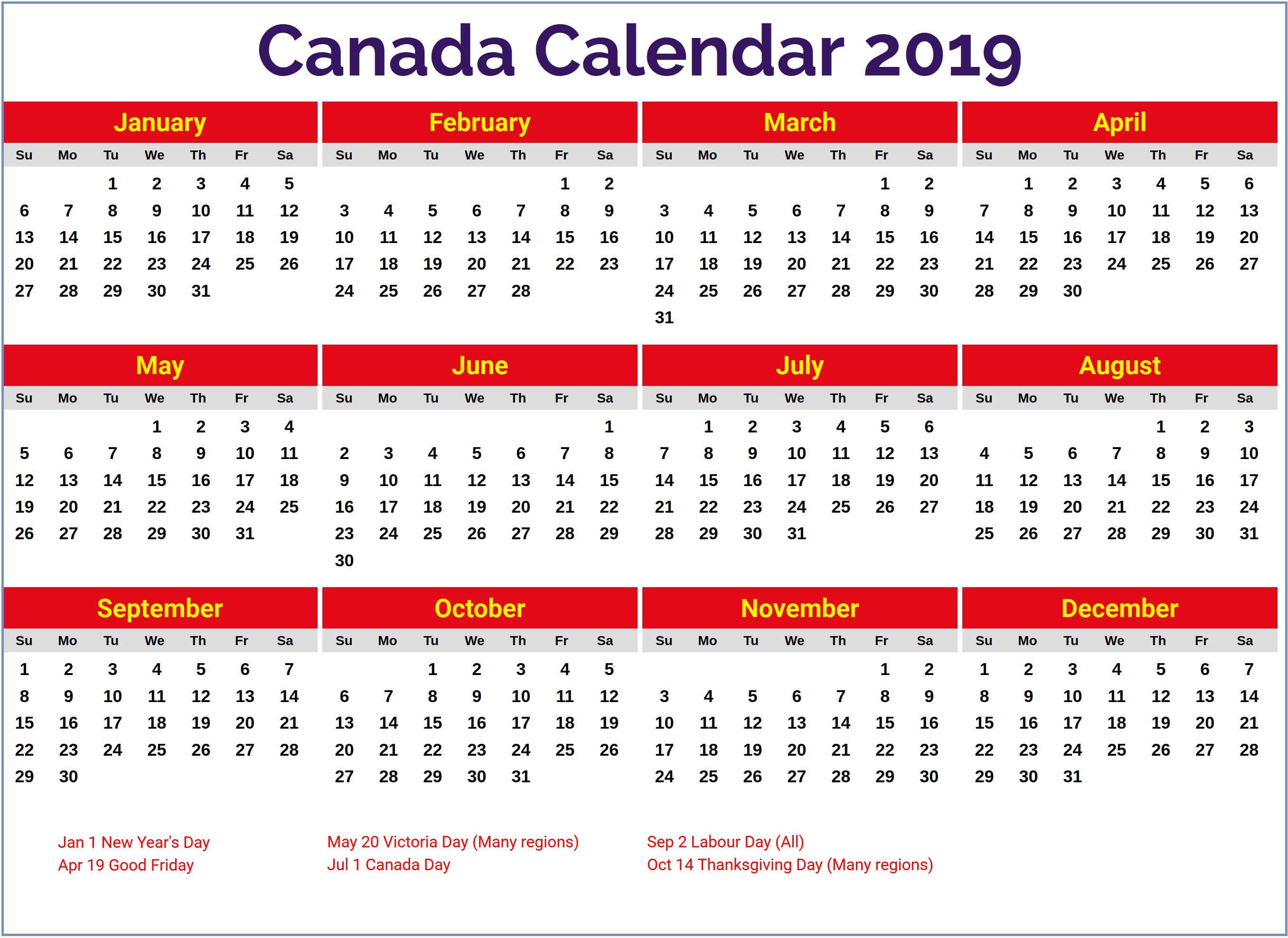 Calendar 2019 Canada #canada2019Calendar #canada #holidays Calendar 2019 Canada Holidays