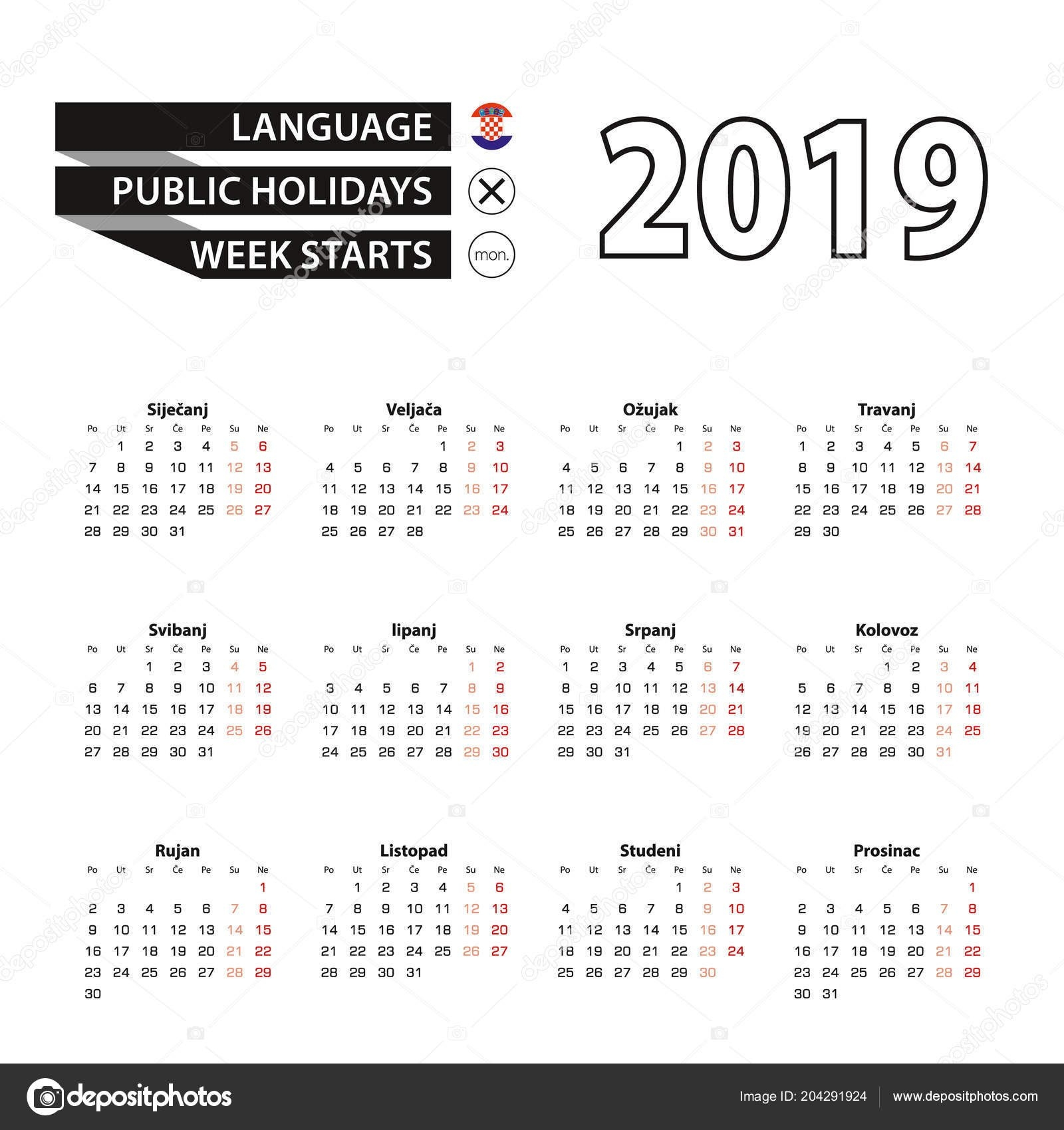 Calendar 2019 Croatian Language Week Starts Monday Vector Calendar Calendar 2019 Ut
