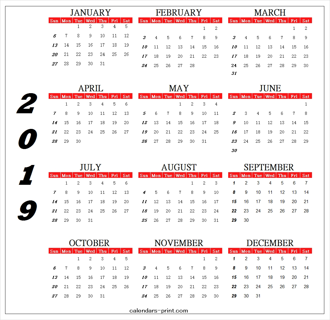 Calendar 2019 Design Template Printable Archives - Calendar To Print Calendar 2019 One Page Printable
