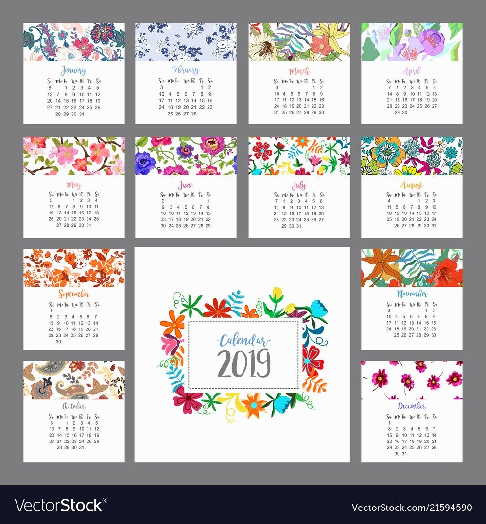 Calendar 2019 Floral Calendar With Colorful Vector Image W 2019 Calendar
