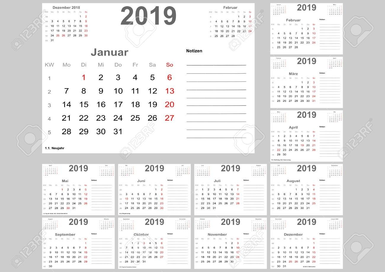 Calendar 2019 For Germany With Holidays, Room For Notes And Above Calendar Week 51 2019