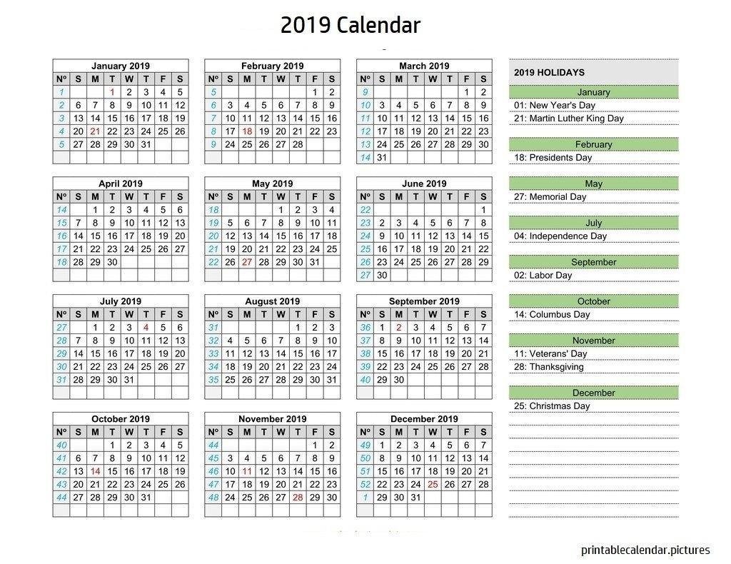 Calendar 2019 Holidays | 2019 Calendar Holidays | Pinterest Calendar 2019 Showing Holidays