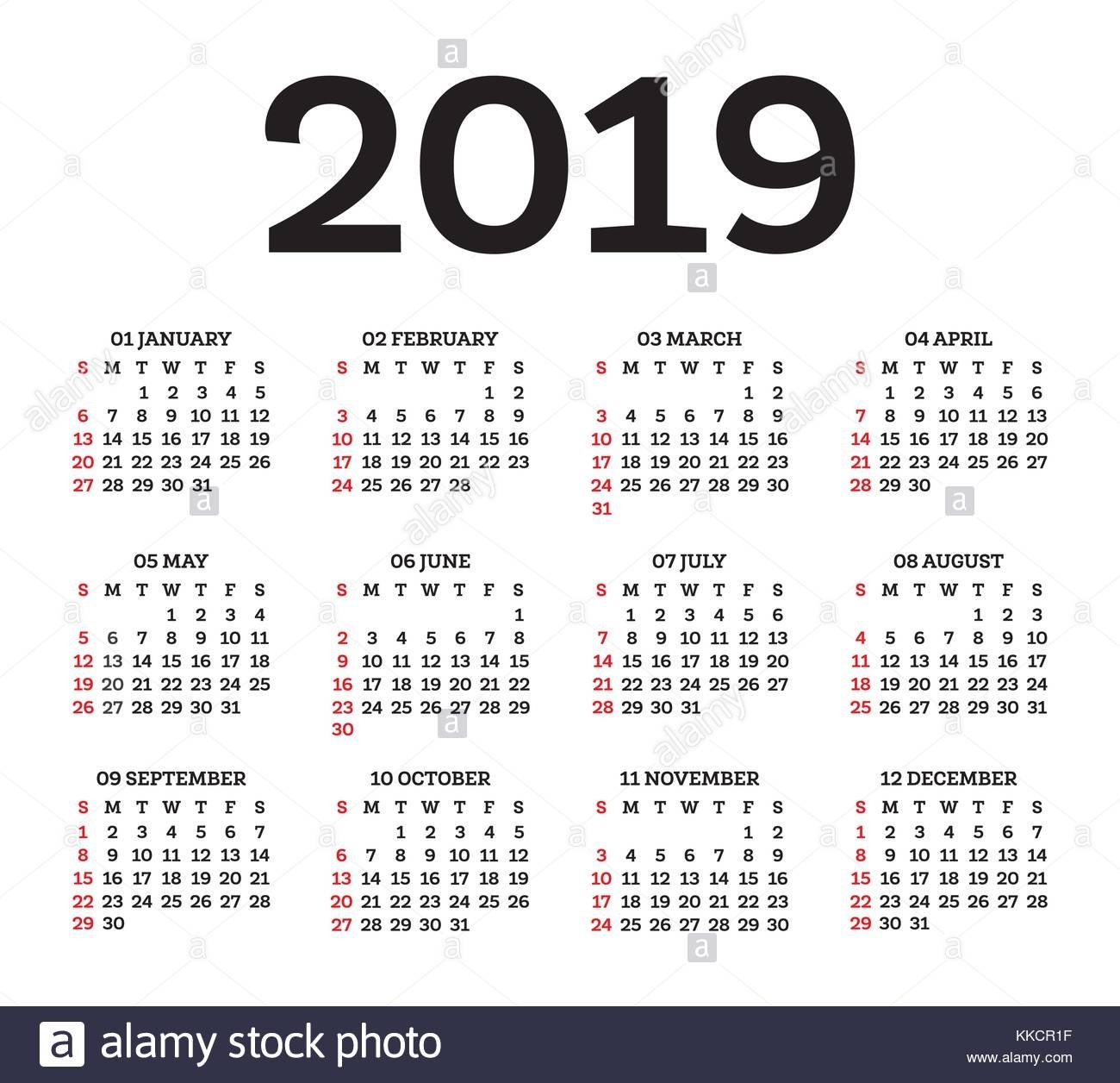 Calendar 2019 Isolated On White Background. Week Starts From Sunday Y 2019 Calendar