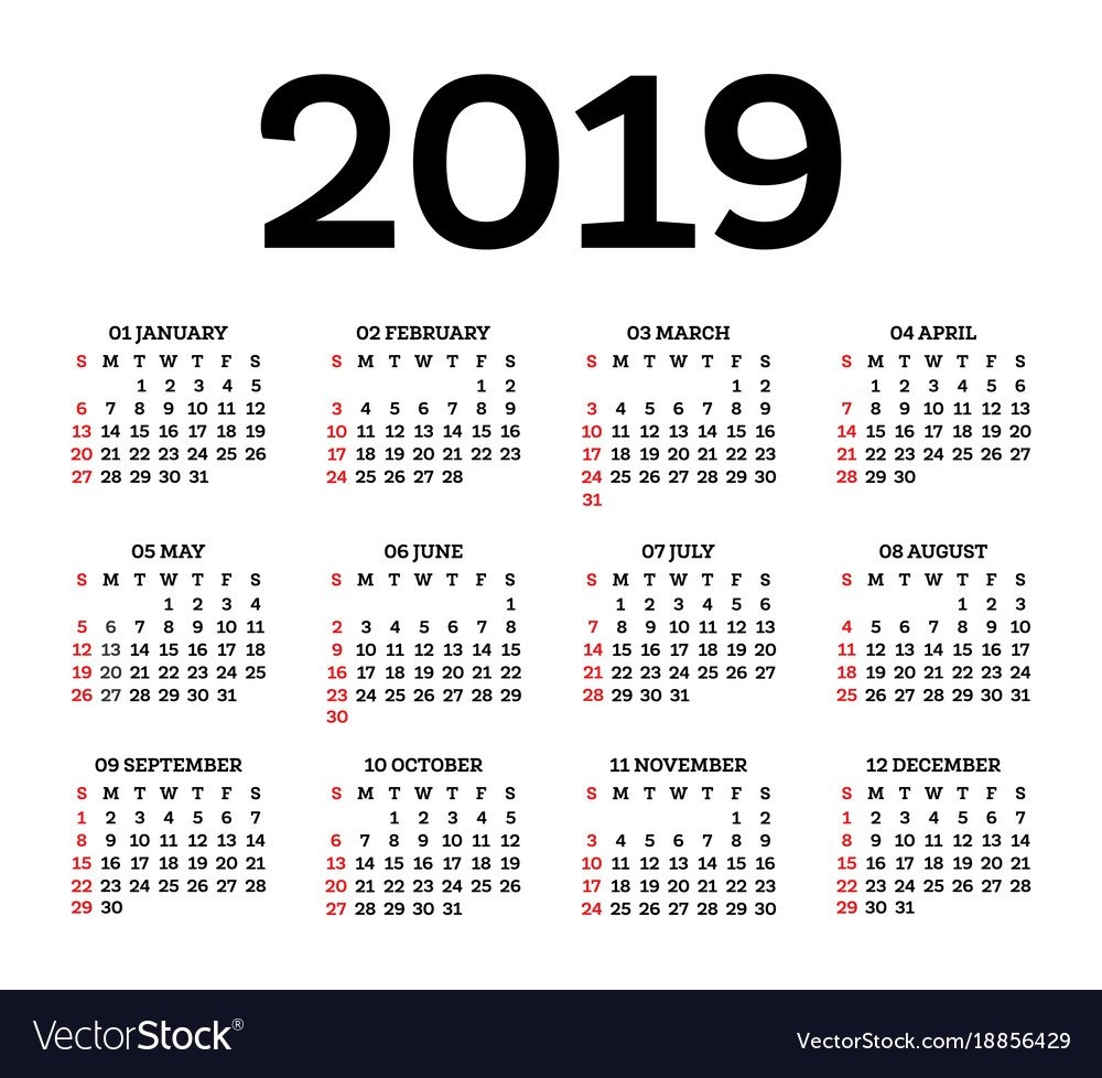 Calendar 2019 Isolated On White Background Week Vector Image Calendar 2019 By Week