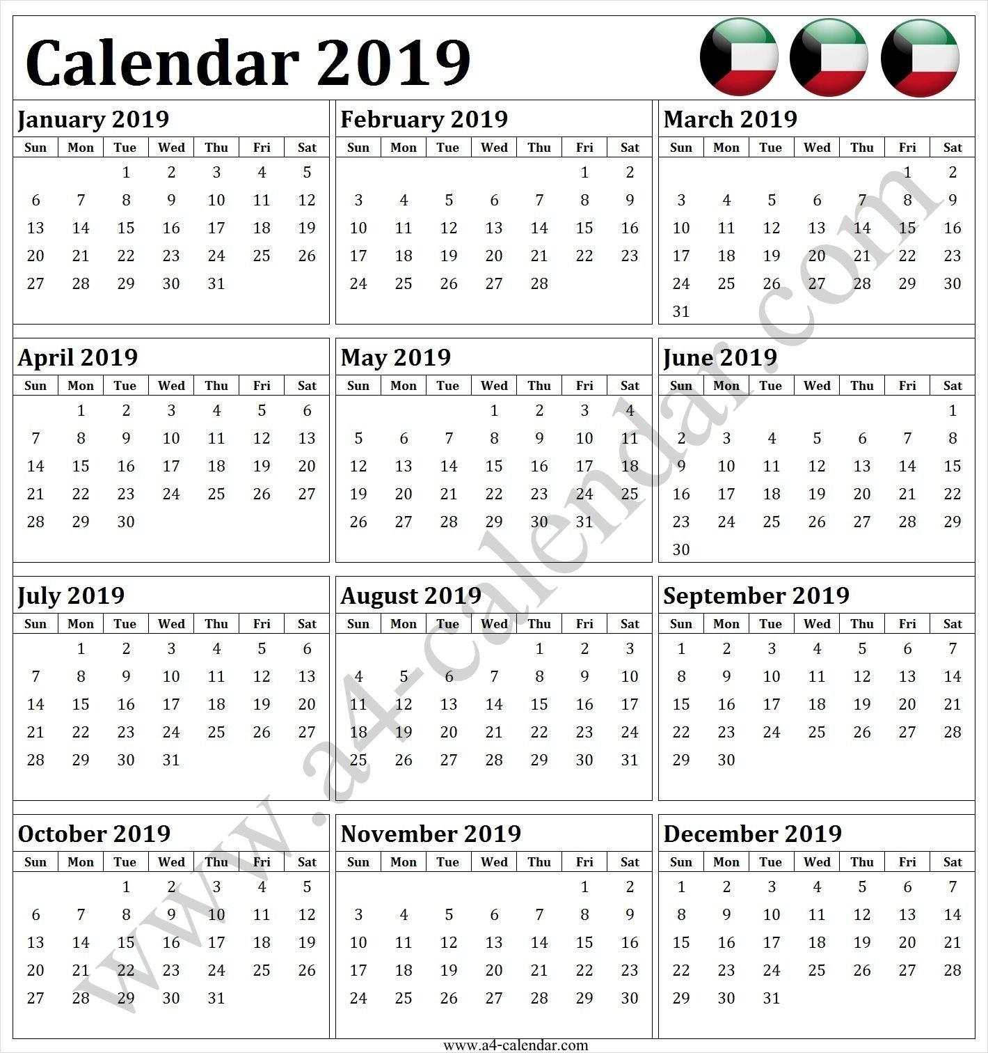 Calendar 2019 Kuwait | 2019 Calendar Editable Template | Pinterest Calendar 2019 Kuwait