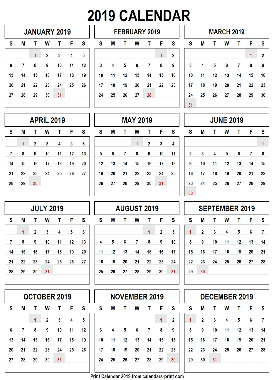 Calendar 2019 Png Free Download Template With Notes   Holidays Calendar 2019 Free Download