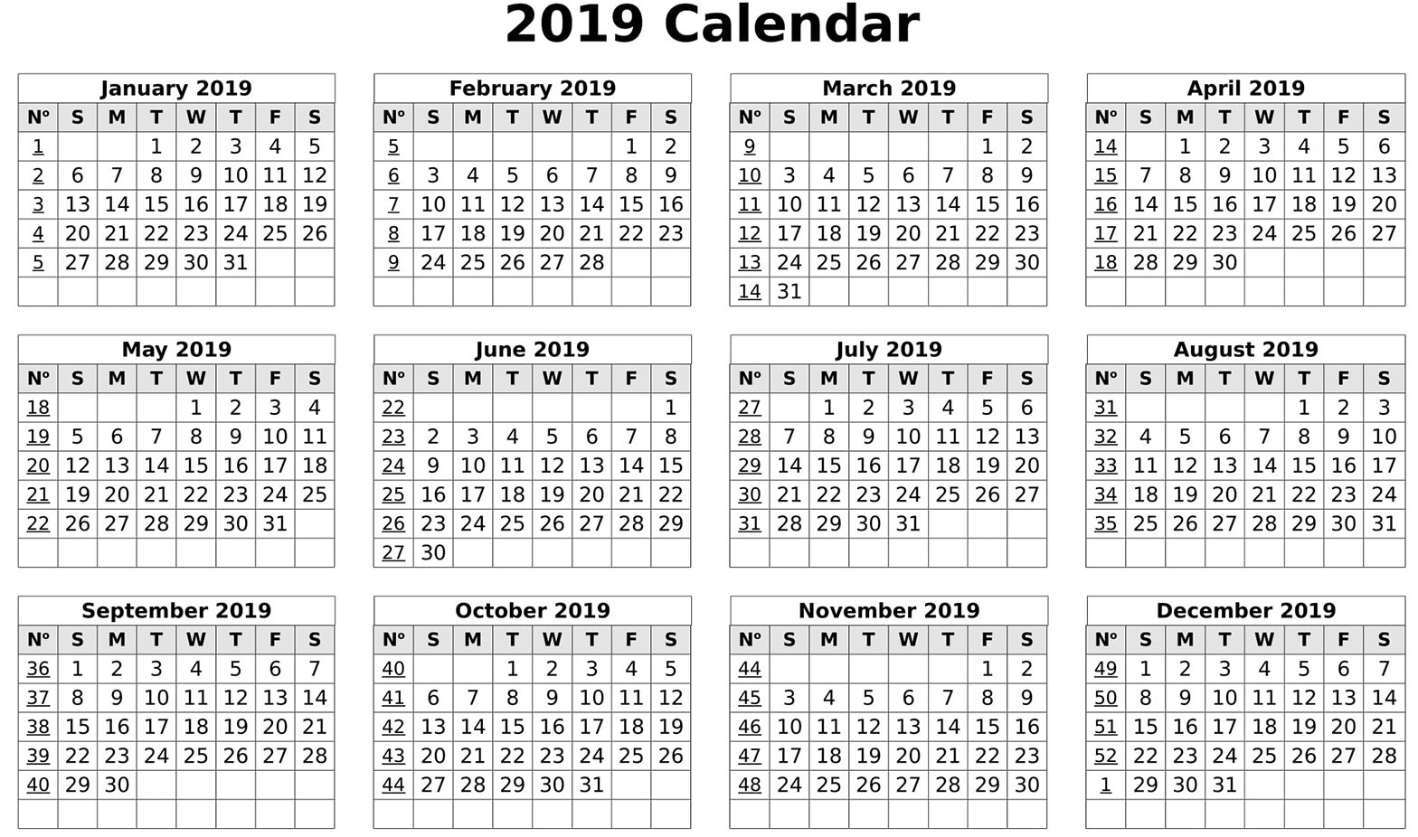 Calendar 2019 Print Out | Free Printable 2018 Calendar Template Word Calendar 2019 Excel By Week
