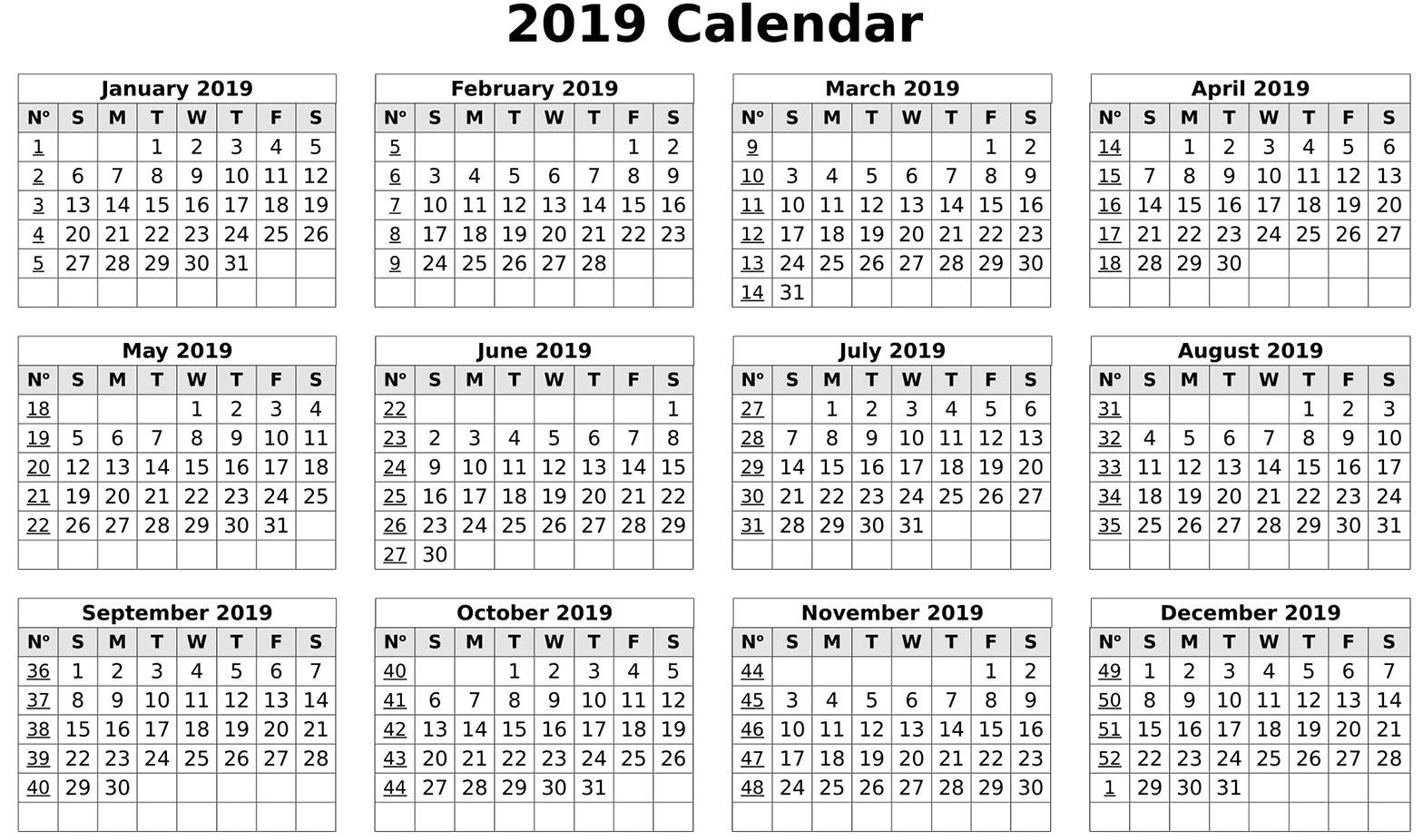 Calendar 2019 Print Out | Free Printable 2018 Calendar Template Word Calendar 2019 To Print