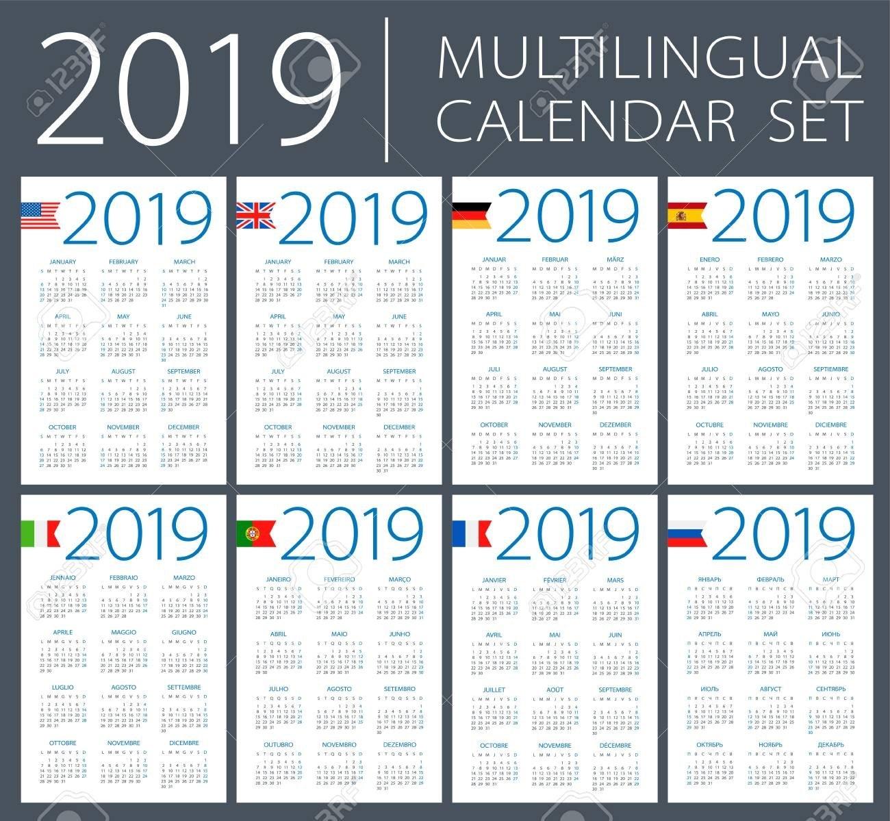 Calendar 2019 Set - English, American, Spanish, German, Portuguese Calendar 2019 America