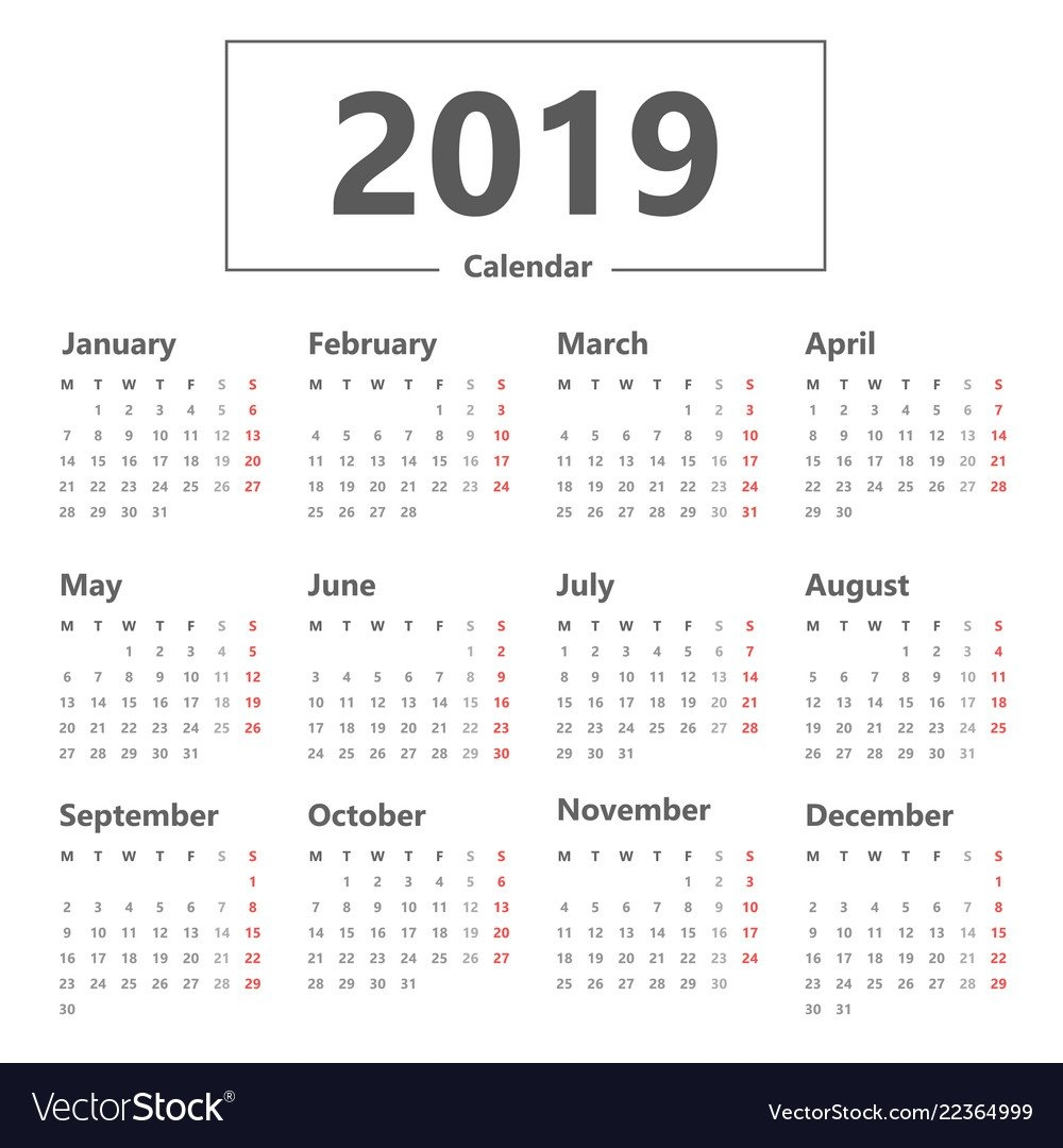 Calendar 2019 Simple Style Week Starts Monday Vector Image Calendar 2019 Monday Start