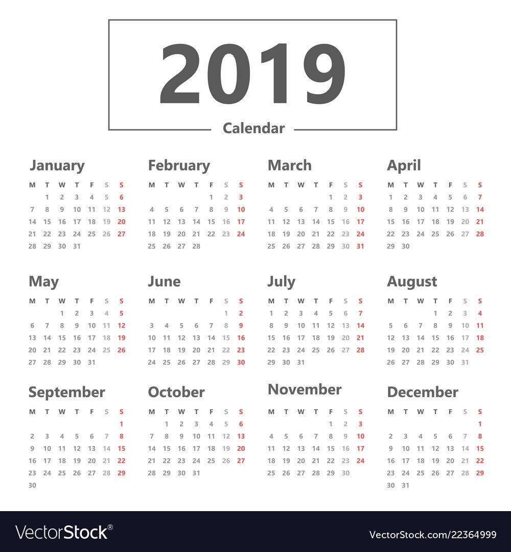 Calendar 2019 Simple Style Week Starts Monday Vector Image Week 9 Calendar 2019