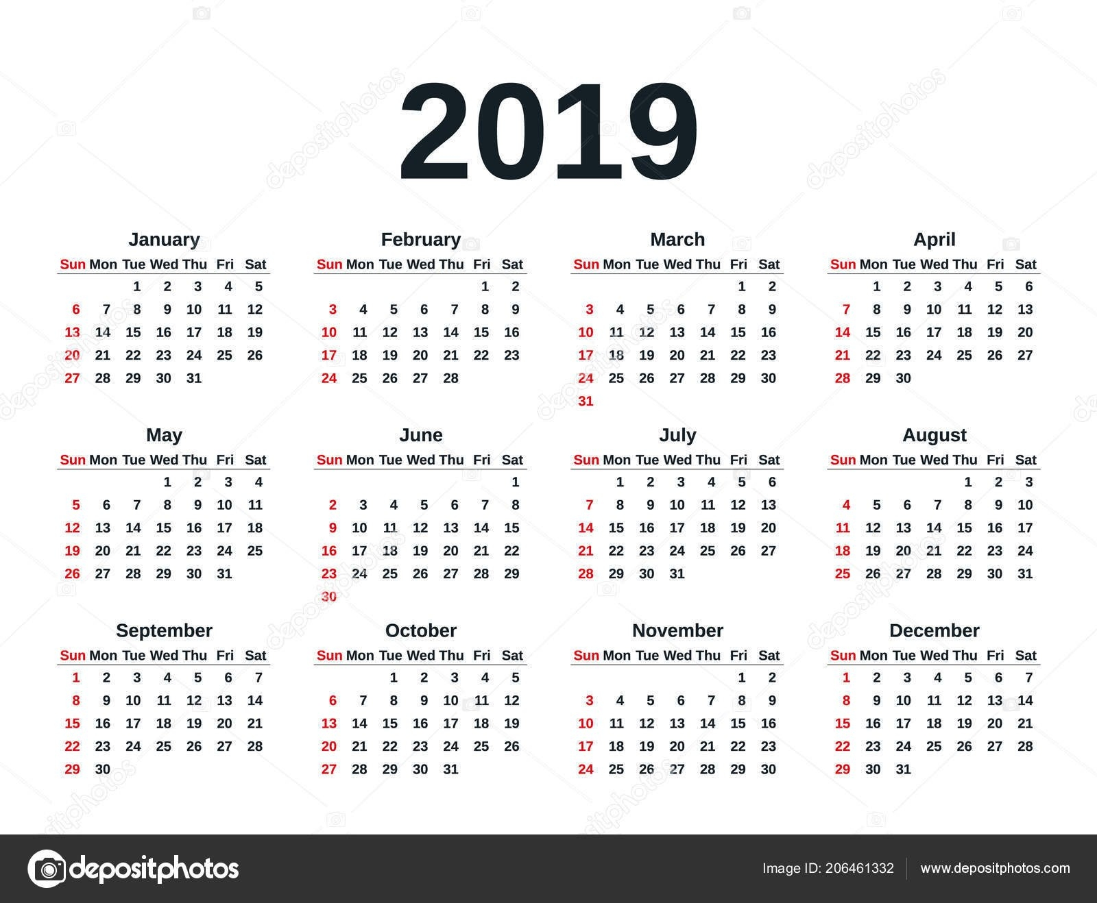 Calendar 2019 Simple Style Week Starts Sunday Vector Stationery 2019 Calendar 2019 In Weeks