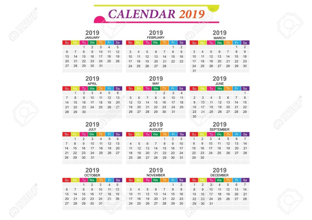 Calendar 2019 Template And Design With Background Collection Calendar 2019 Eps