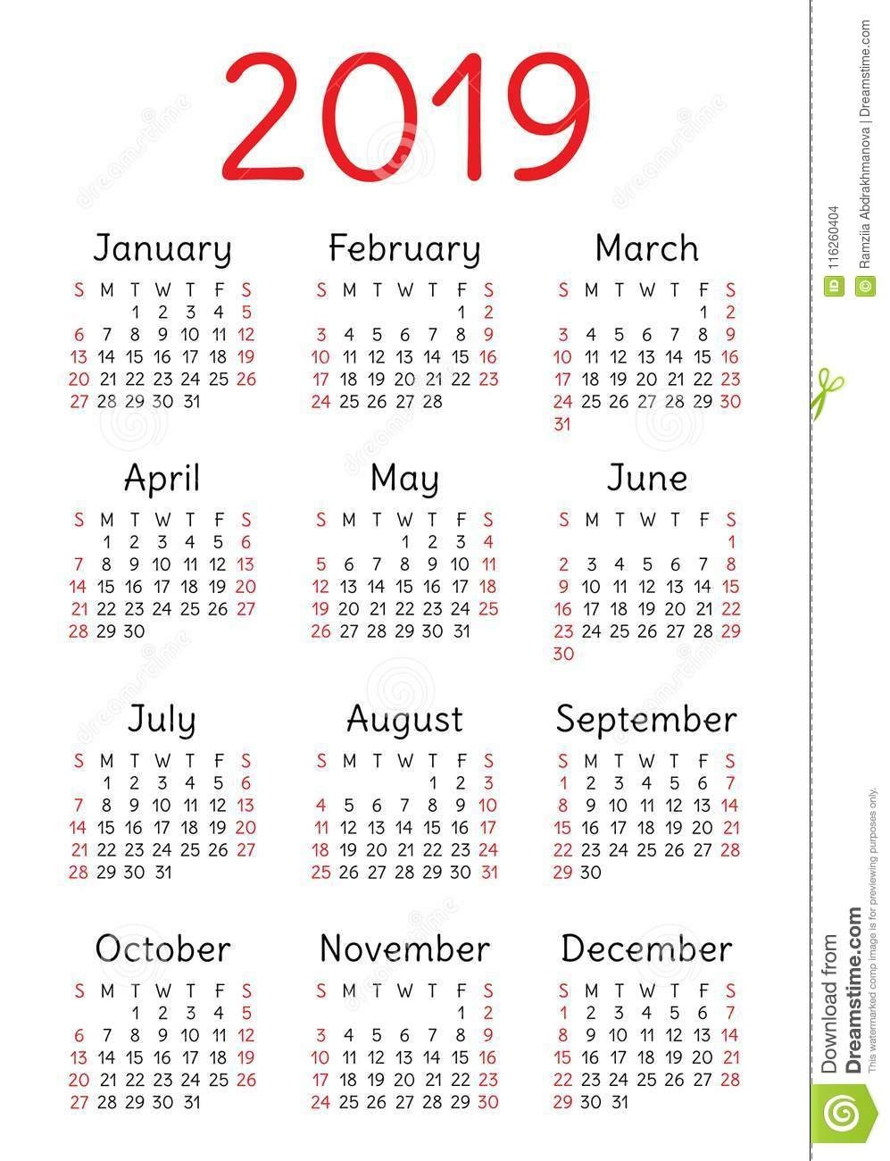 Calendar 2019. Template, Base. Week Starts On Sunday Stock Vector Calendar Week 8 2019