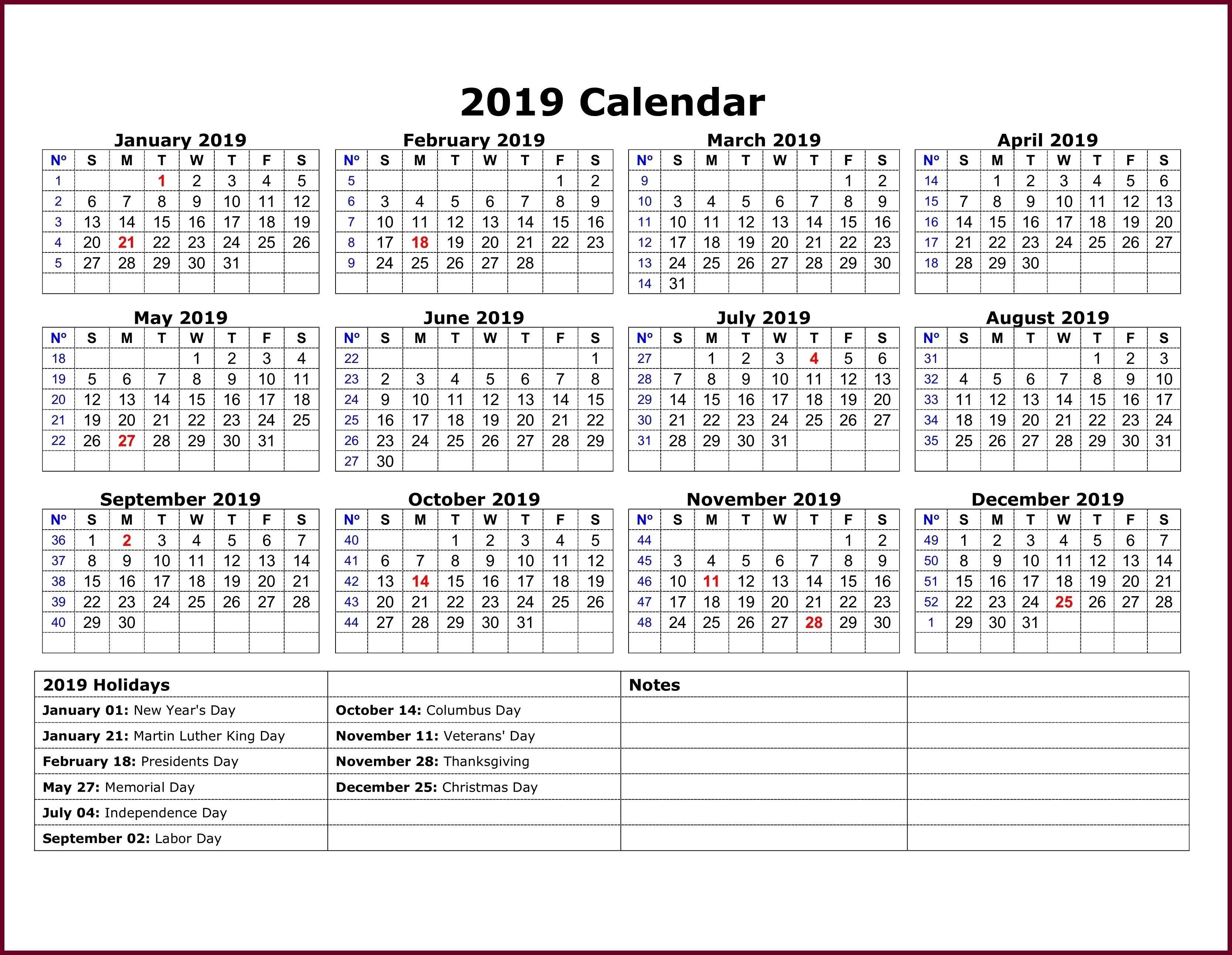 Calendar 2019 Template Excel | 2019 Calendar Template In One Pages Calendar 2019 Template Excel