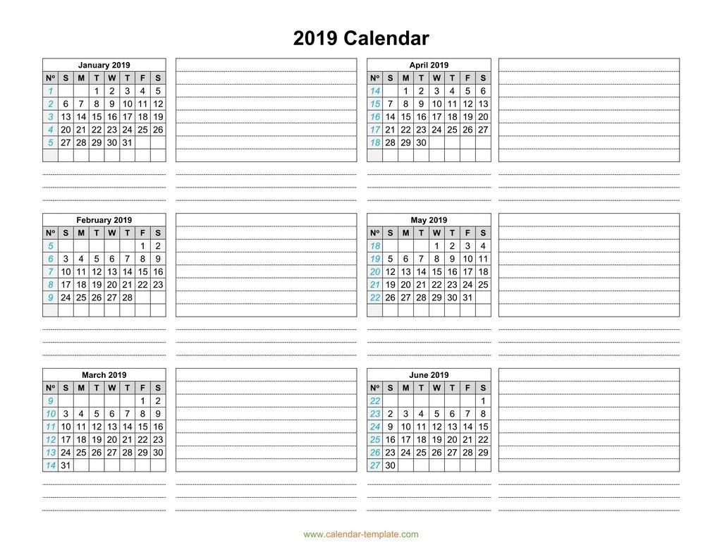 Calendar 2019 Template Six Months Per Page Calendar 2019 3 Months Per Page