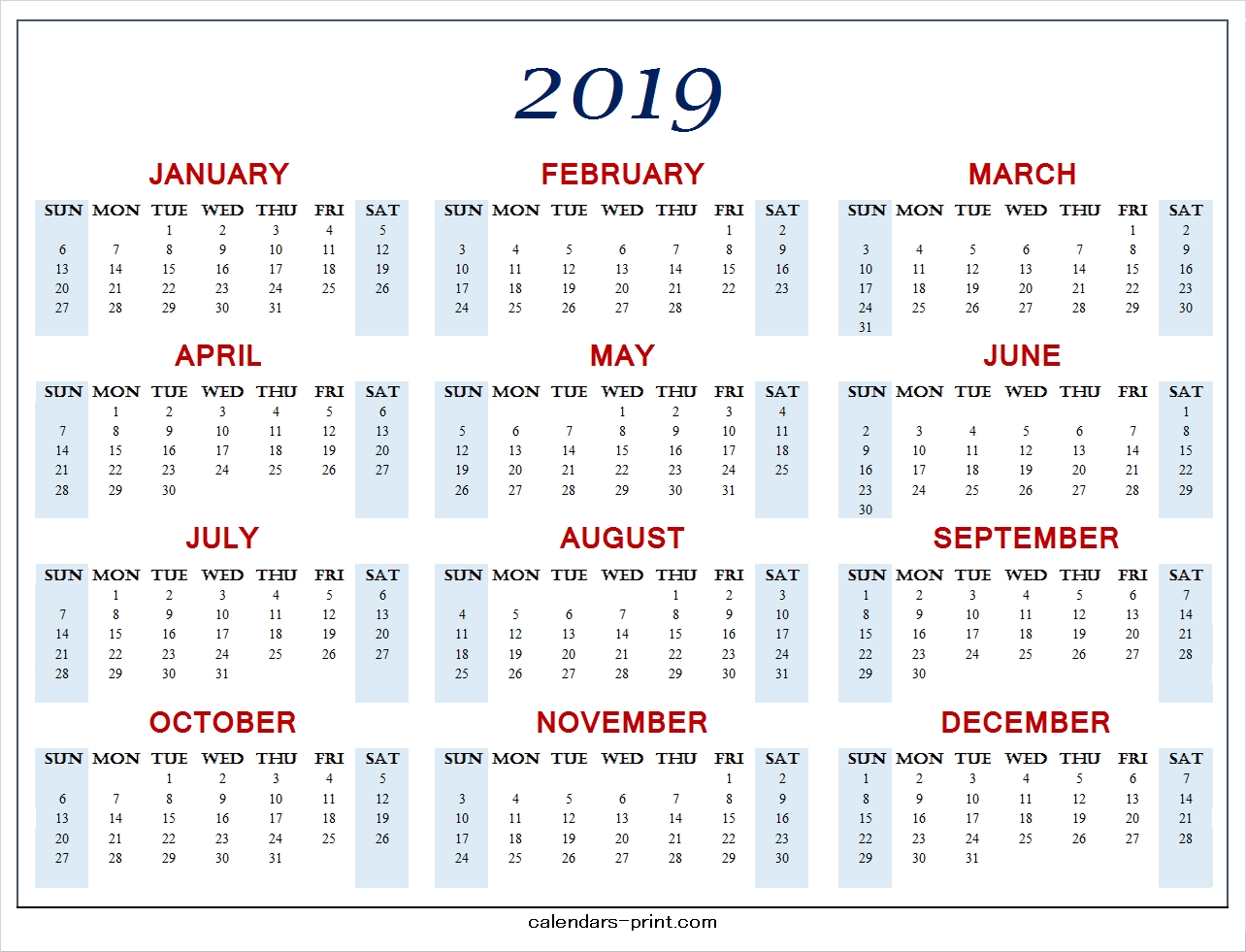 Calendar 2019 Template To Print Free | Download Blank Pdf Template 2019 Calendar You Can Edit