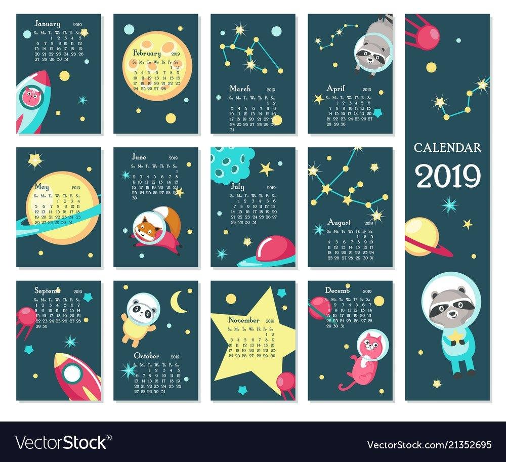 Calendar 2019 Template With Space Animals Vector Image Calendar 2019 Illustrator
