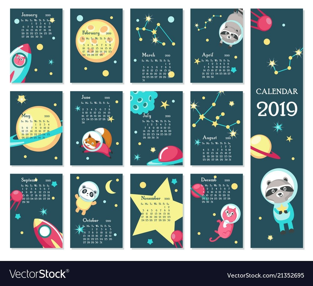 Calendar 2019 Template With Space Animals Vector Image Calendar 2019 Template