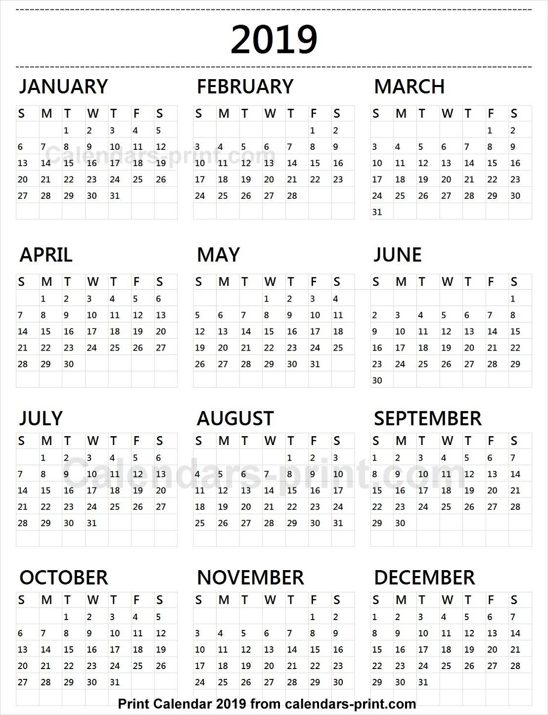 Calendar 2019 Tumblr To Print Free | Download Blank Pdf Template Calendar 2019 Print Free