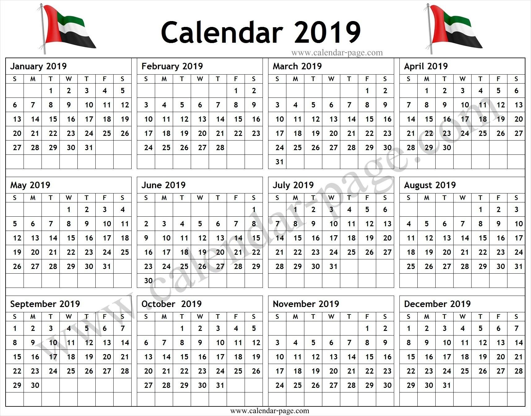 Calendar 2019 Uae Pdf - Blank Calendar 2019 Template U A E Calendar 2019