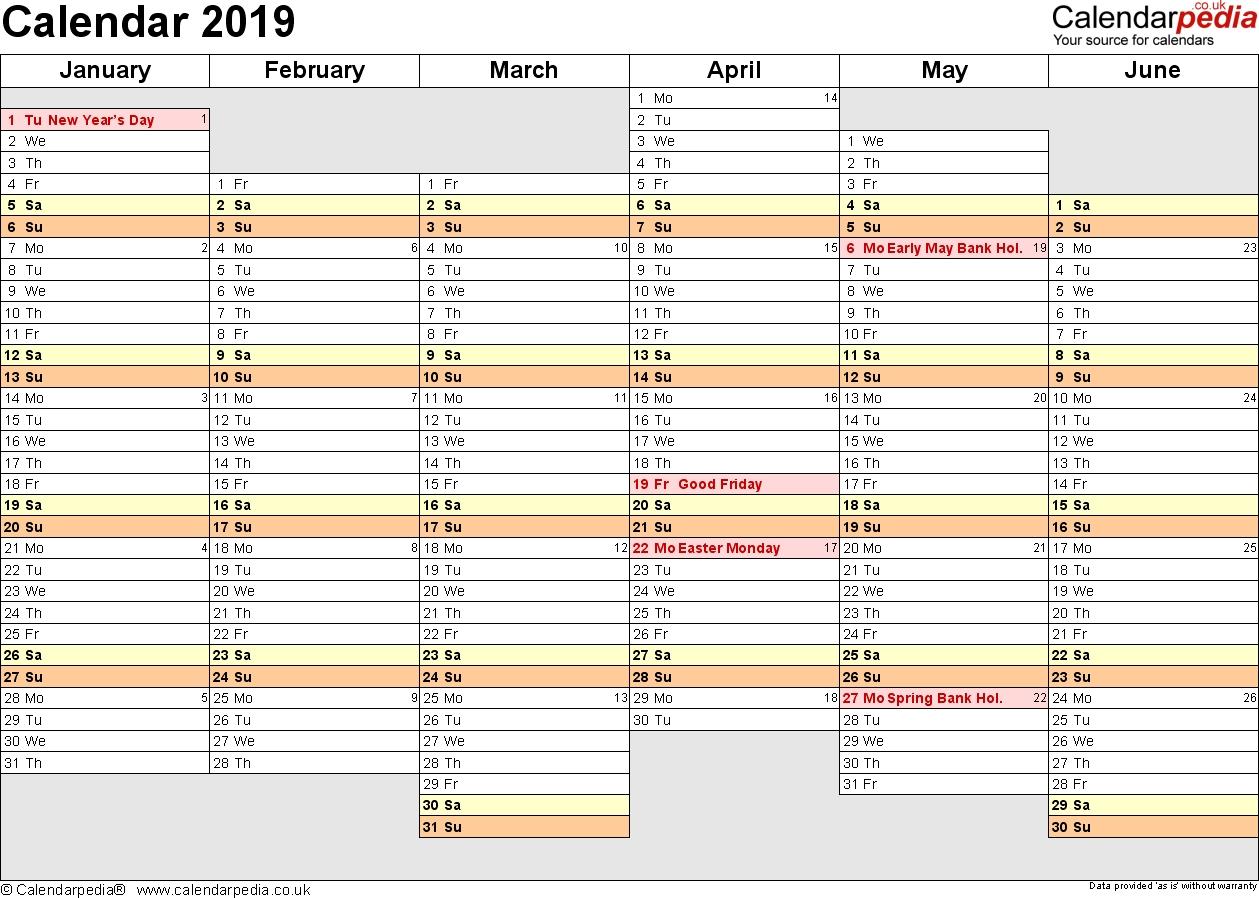 Calendar 2019 (Uk) - 16 Free Printable Word Templates 6 Month Calendar Template 2019