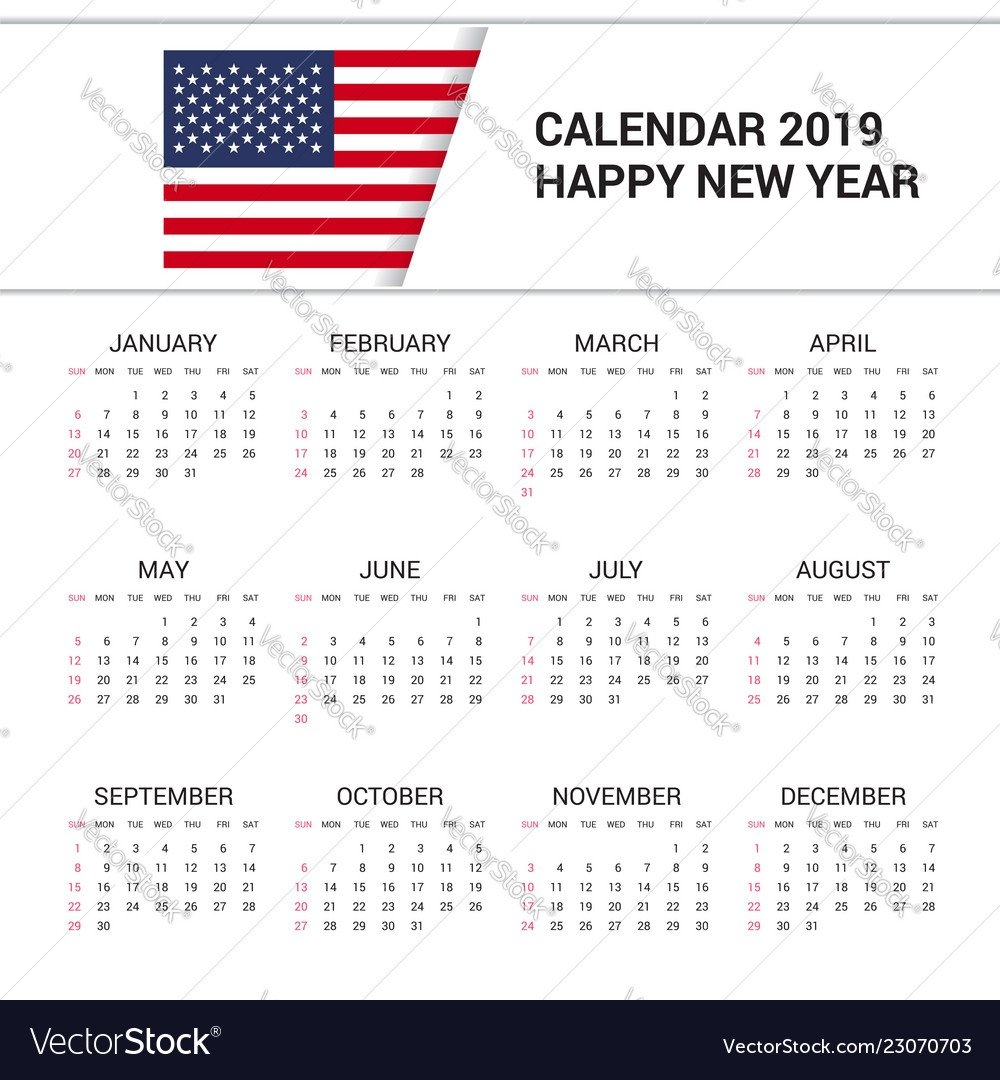 Calendar 2019 United States Of America Flag Vector Image Calendar 2019 America