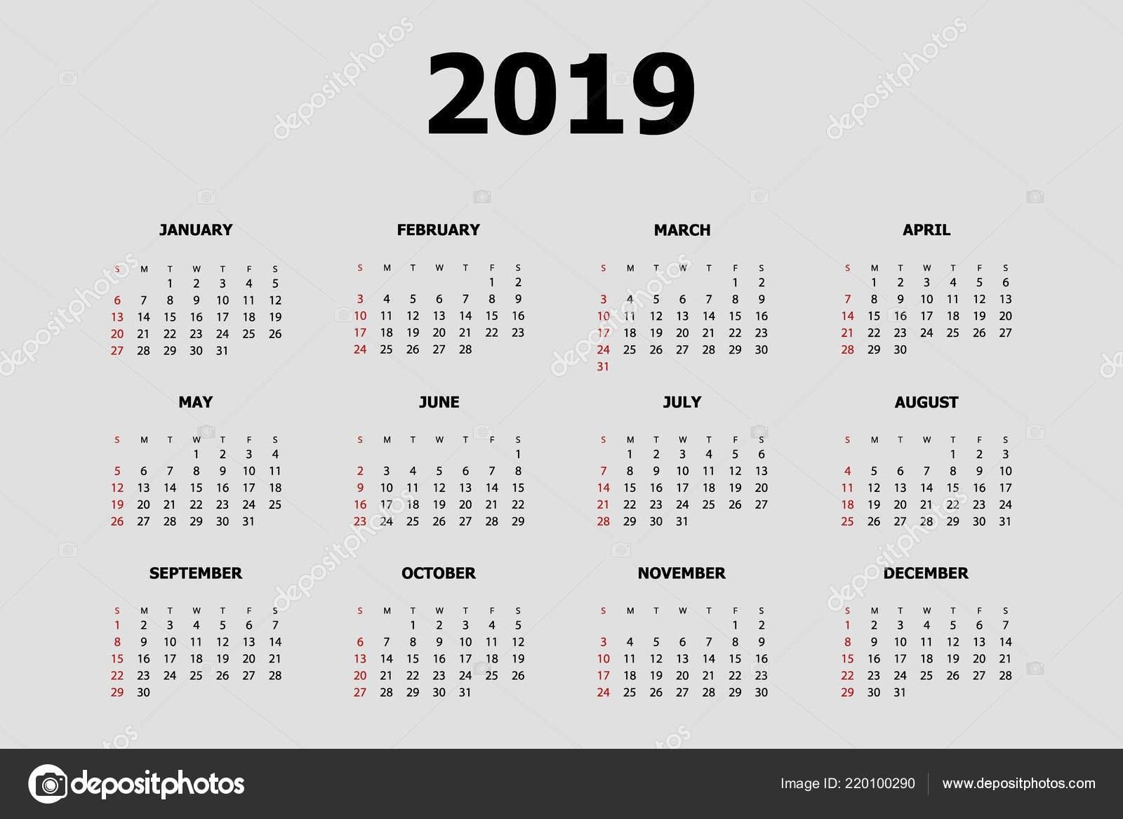 Calendar 2019 Vector Abstract — Stock Vector © Pupsy #220100290 Calendar 2019 Vector Download