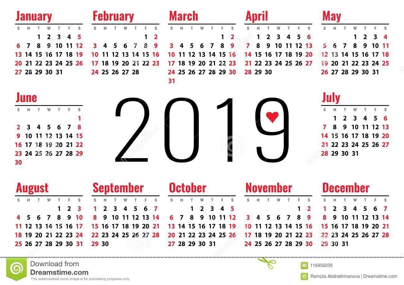 Calendar 2019 Vector Basic Grid. Simple Design Template Stock Vector Calendar 2019 Small