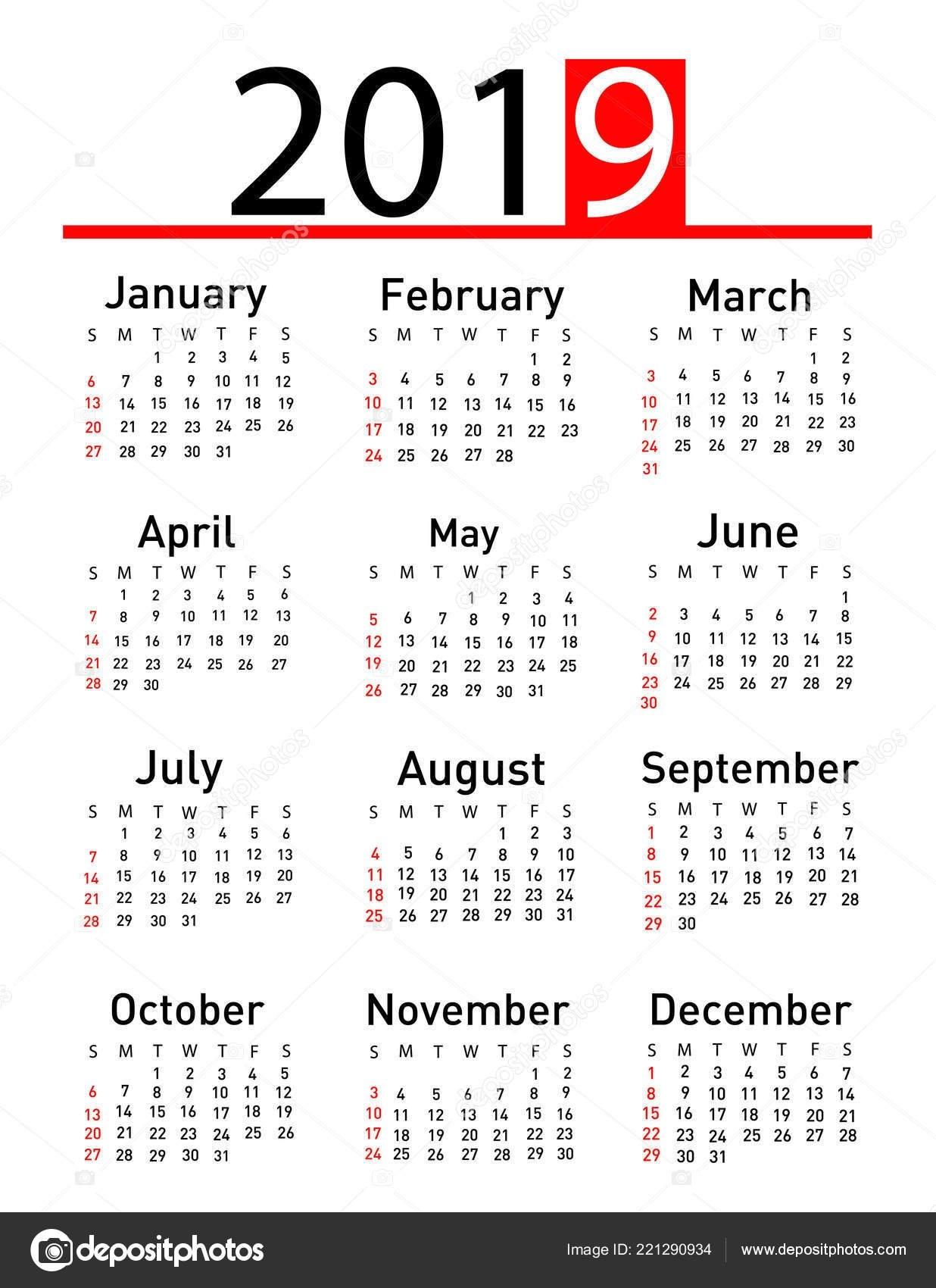 Calendar 2019 Vector Illustration — Stock Vector © Nezezon #221290934 Calendar 2019 Vector Download