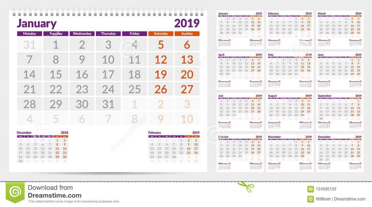 Calendar 2019. Week Start From Monday. Set Of 12 Months Stock Calendar Week 12 2019