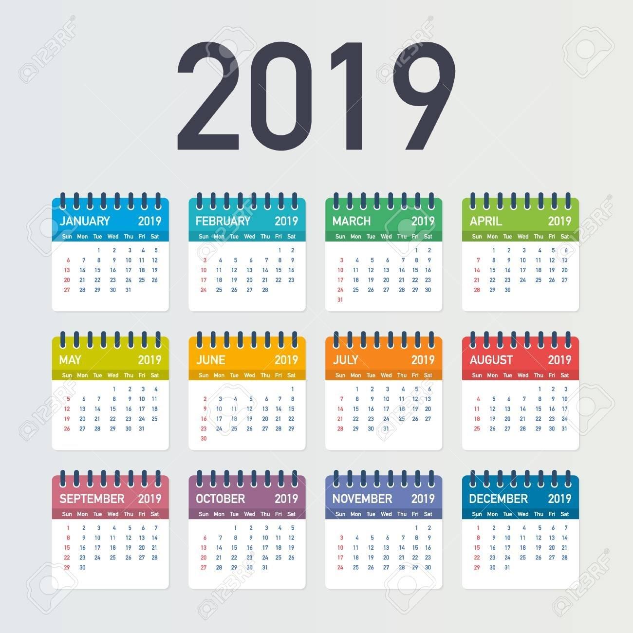 Calendar 2019, Week Starts From Sunday, Business Template. Editable Calendar 2019 Vector File